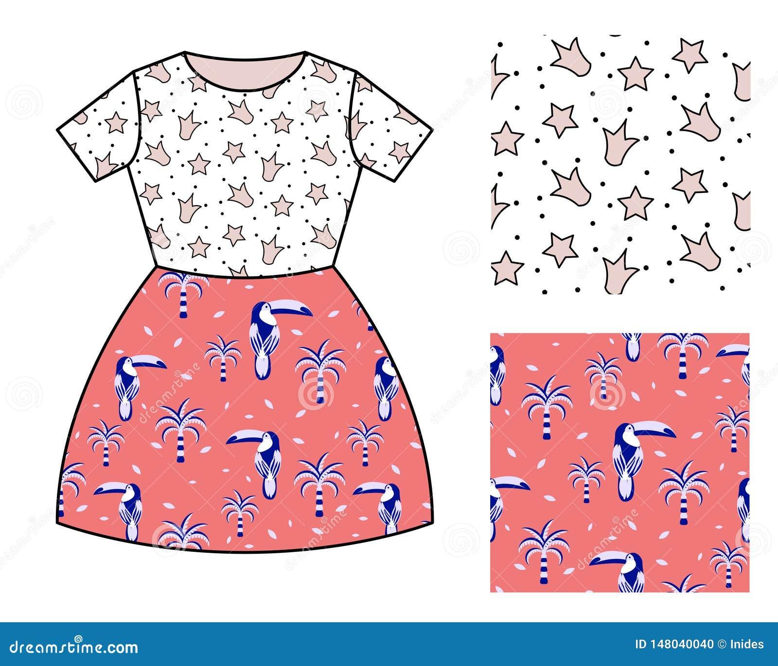 Dise?o del modelo del vestido para las muchachas Sistema inconsútil del modelo de las coronas y de los pájaros del tucán