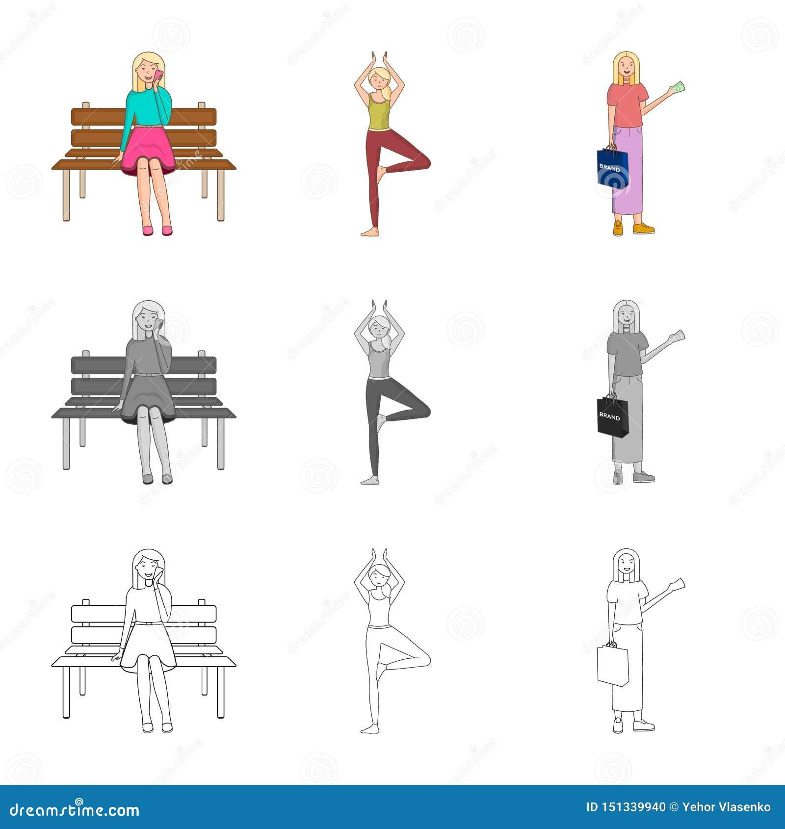 Dise?o del vector de icono de la postura y del humor Fije de postura y del s?mbolo com?n femenino para la web