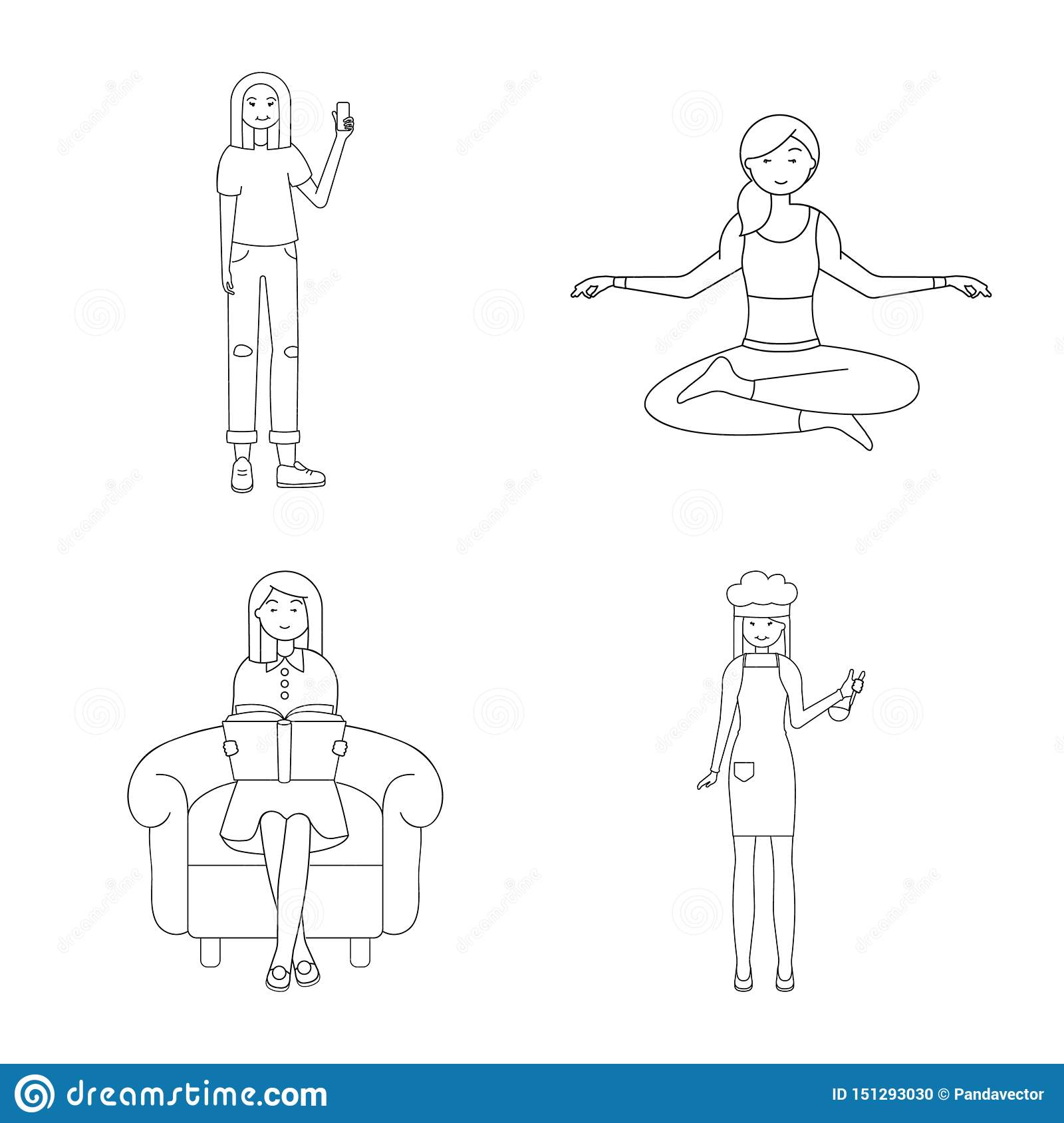 Dise?o del vector de muestra de la postura y del humor Fije de postura y del s?mbolo com?n femenino para la web