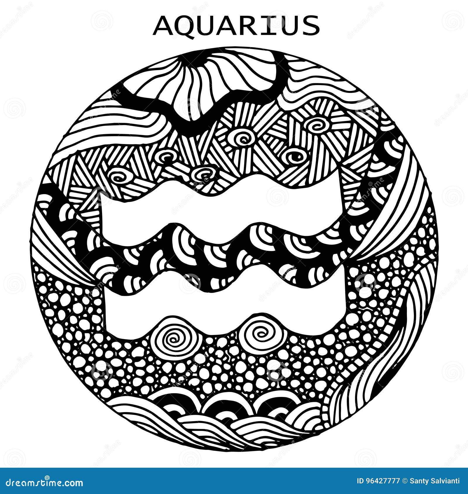 Disegno Acquario Segno Zodiacale.Disegnato A Mano Acquario Del Segno Dello Zodiaco
