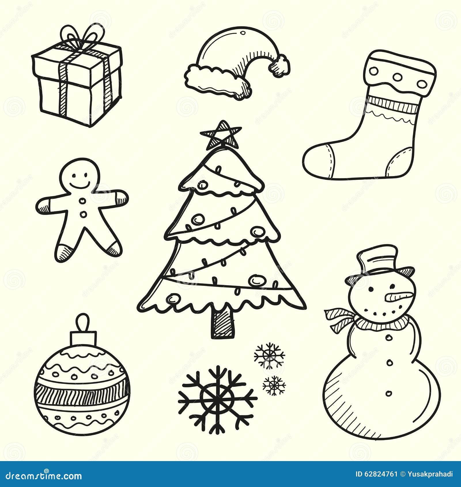 Decorazioni Di Natale Disegni.Disegnato A Mano Dell Elemento Della Decorazione Di Natale