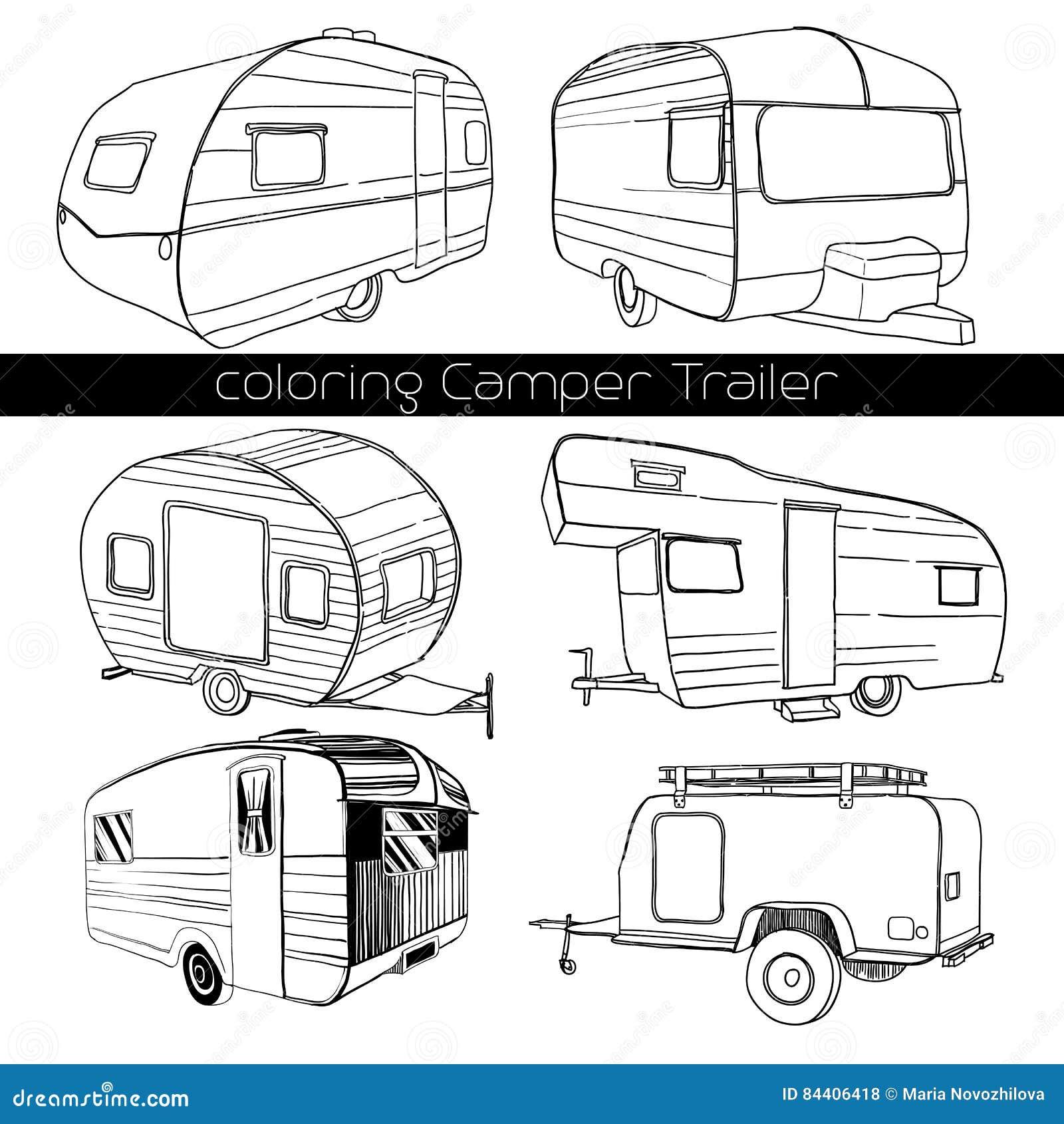 Disegnato a mano isolato insieme, il rimorchio di campeggiatore di scarabocchio, il trasporto della ricreazione dell automobile,
