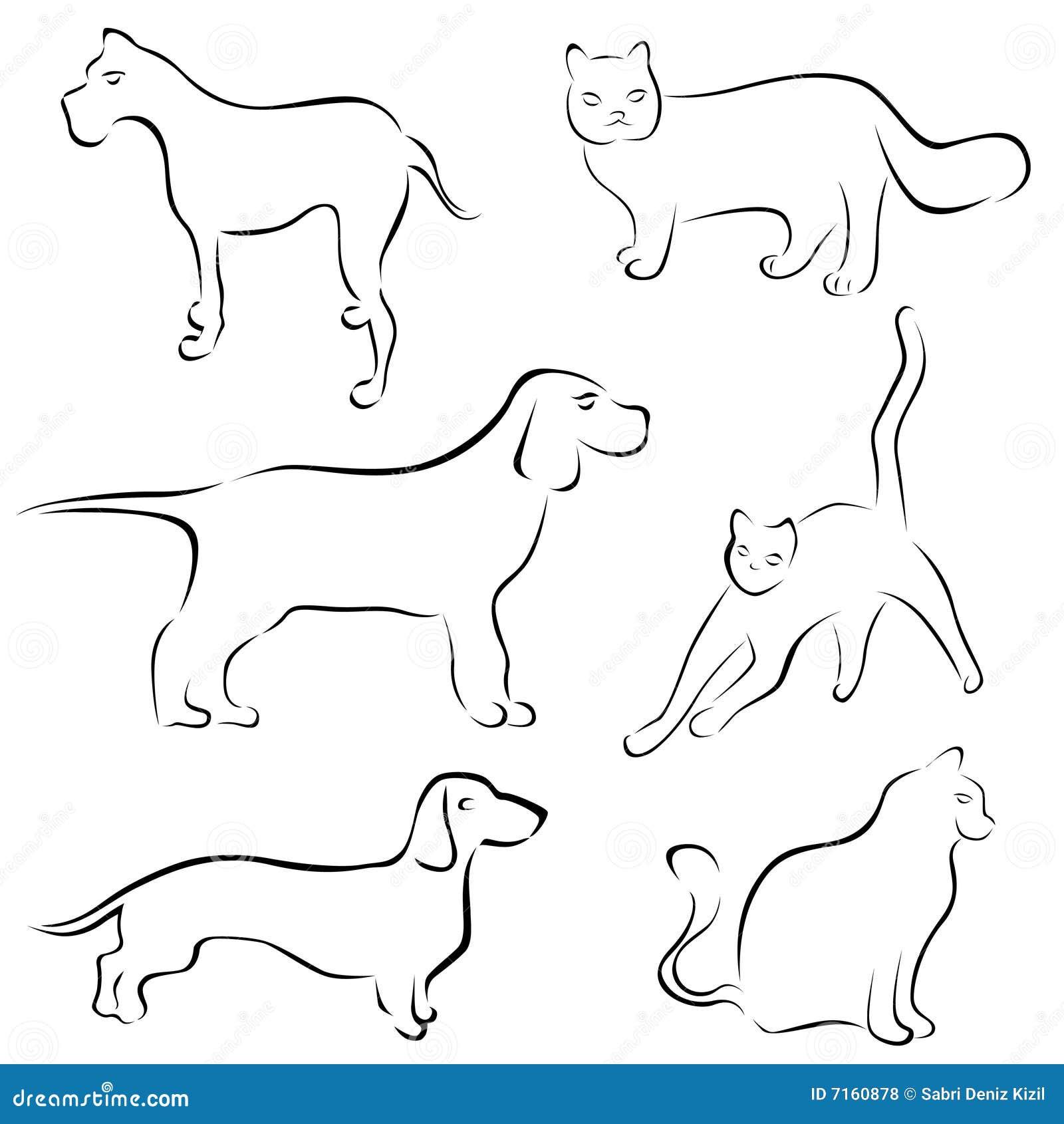 Disegni Del Gatto E Del Cane Illustrazione Vettoriale