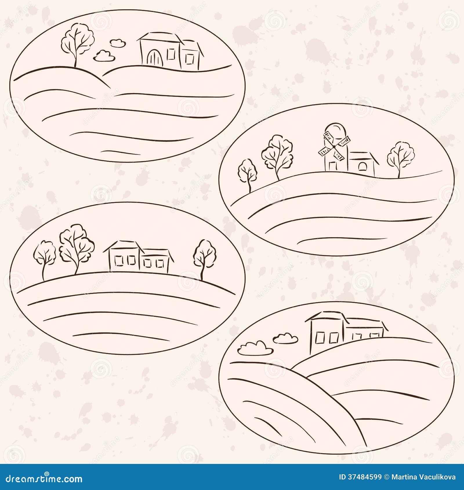 Disegni della campagna etichette del paesaggio delle for Case di campagna della collina del texas