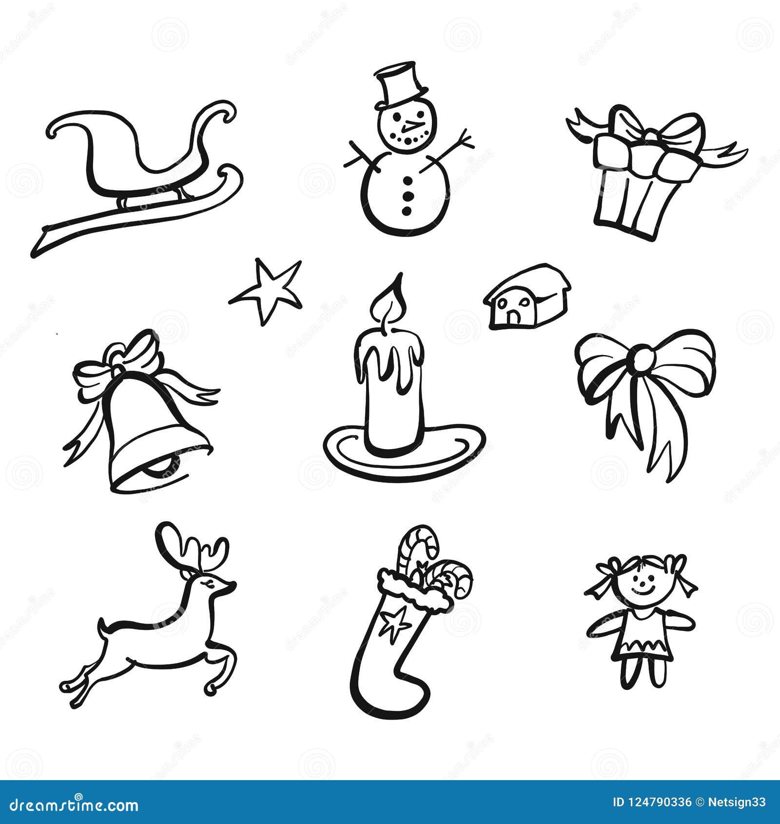 Disegni Di Natale Vettoriali.Disegni Delle Icone Di Natale Illustrazione Vettoriale