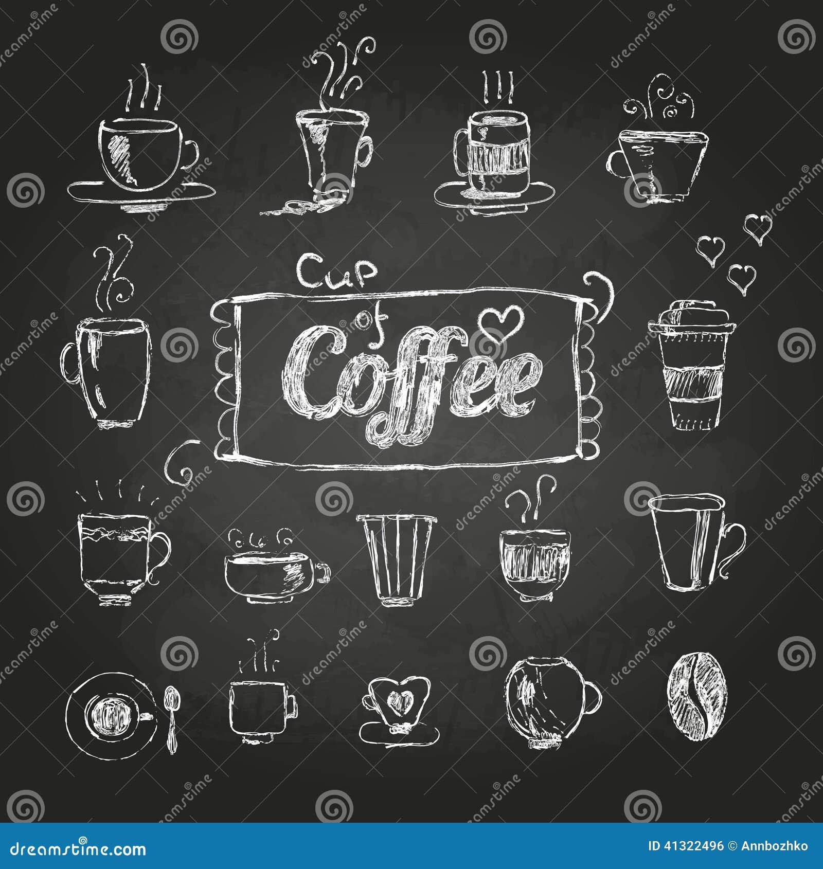 Disegni di gesso Insieme delle tazze di caffè