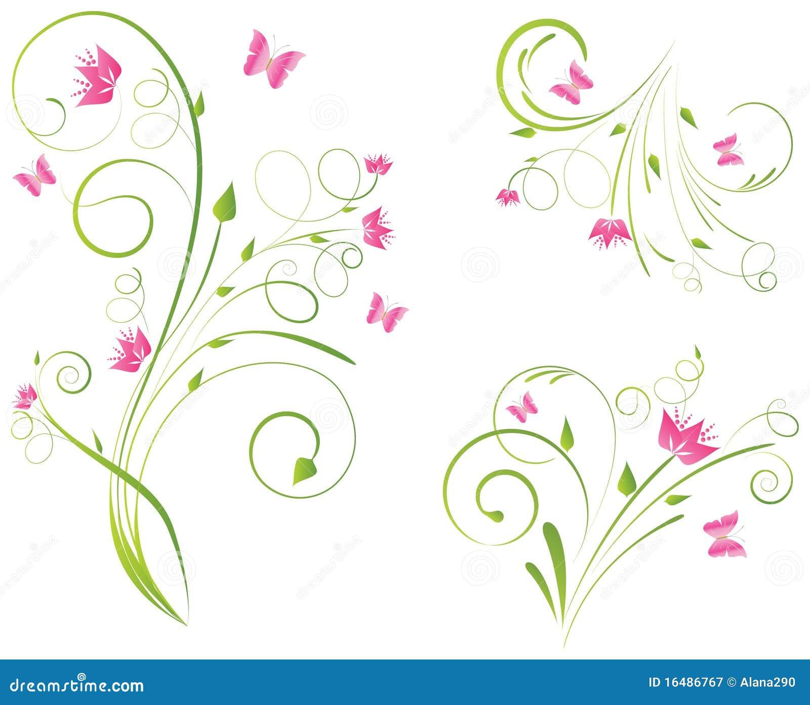 Disegni E Farfalle Di Florals Illustrazione Vettoriale