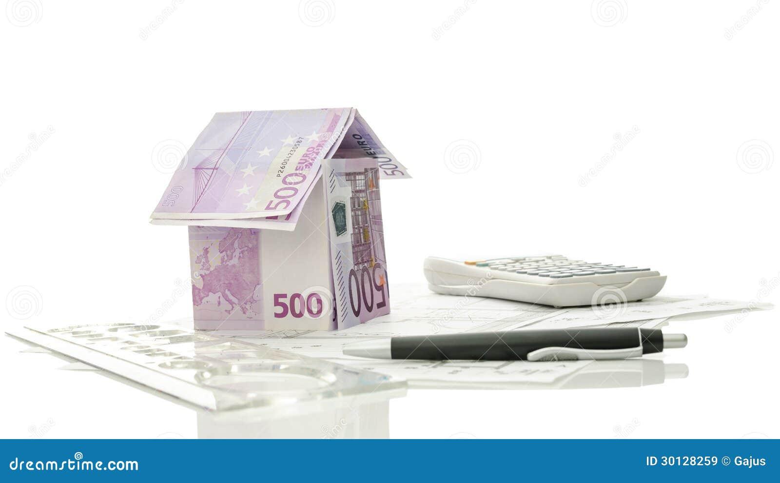 Disegni e strumenti architettonici con la casa dei soldi - Soldi contanti a casa ...