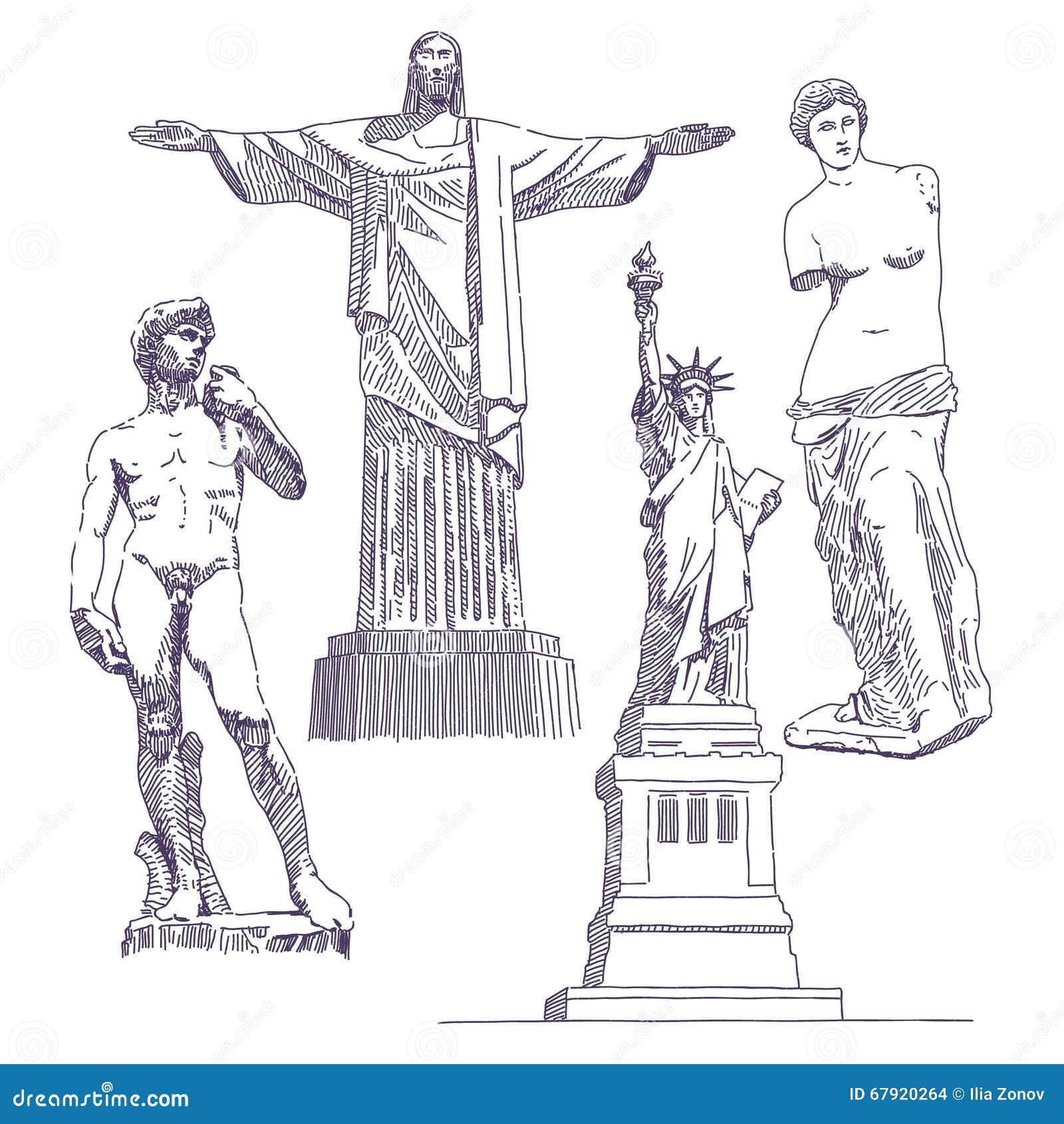 Disegni Famosi Delle Statue Illustrazione Vettoriale Illustrazione