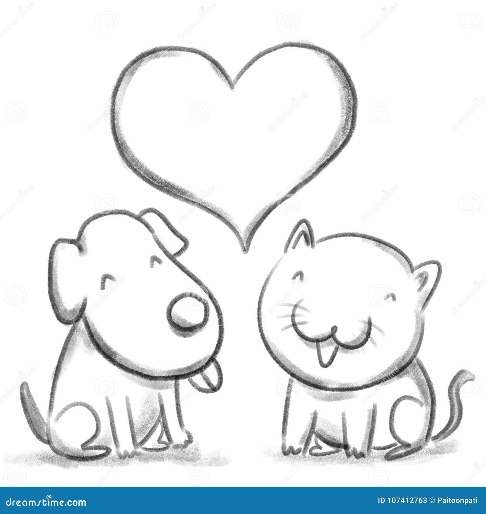 Disegni A Matita Lillustrazione Del Gatto E Del Cane Nel Colore In