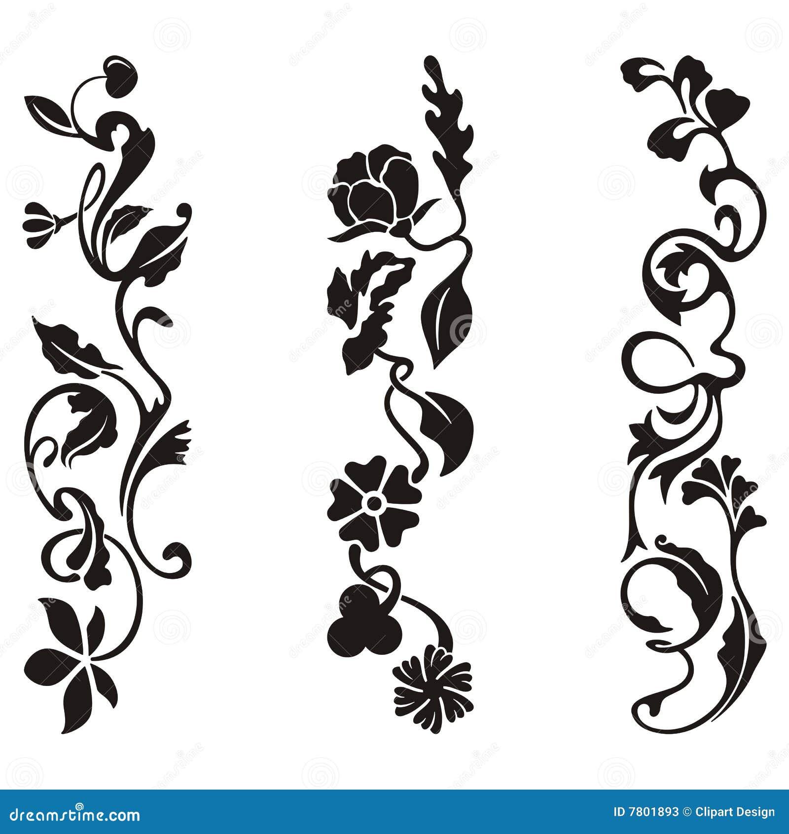 Disegni ornamentali del fregio illustrazione di stock for Fiori ornamentali