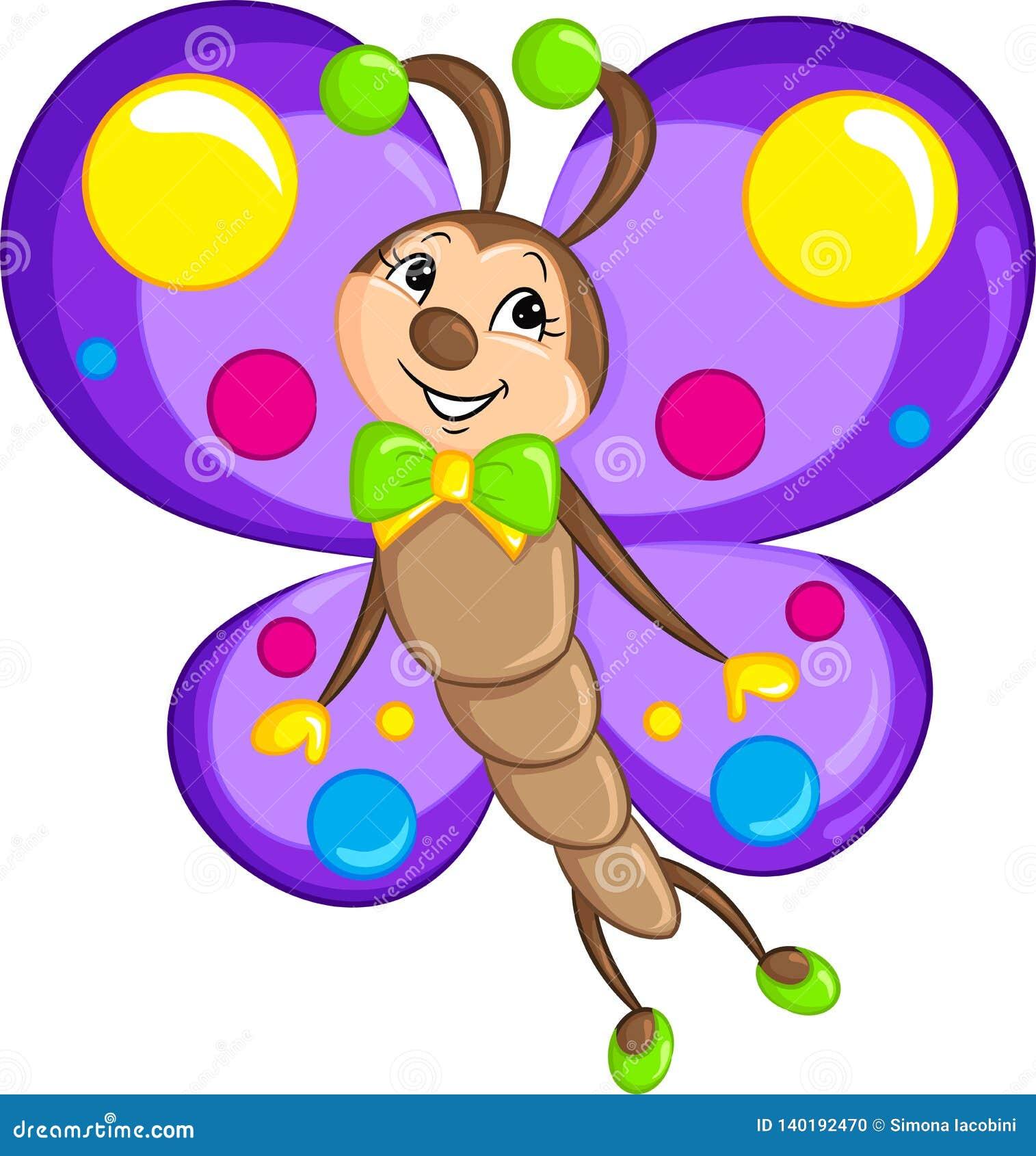 Disegno Adorabile Di Kawaii Di Colore Di Piccola Farfalla