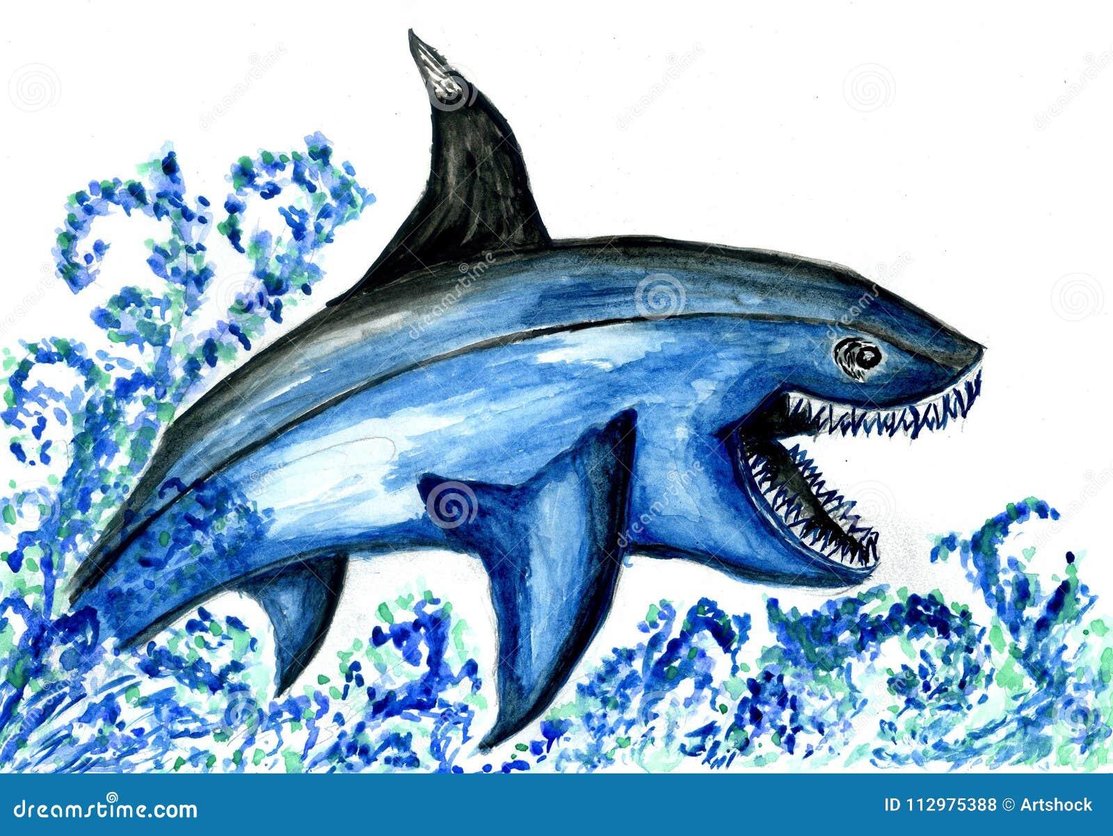 Disegno affamato dello squalo illustrazione di stock for Disegno squalo