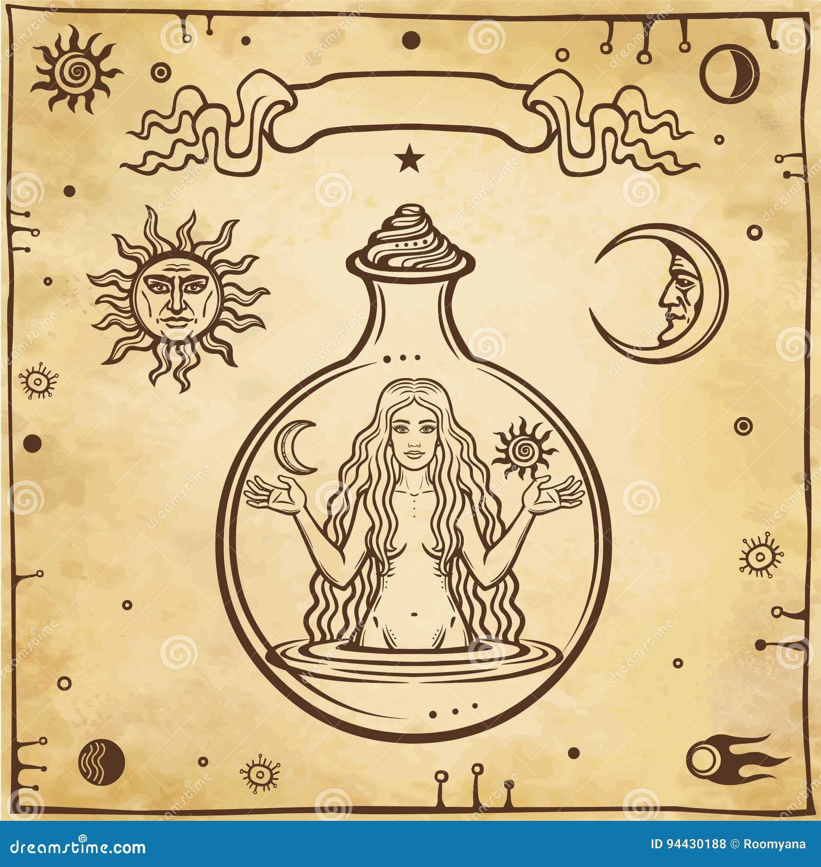 Disegno Alchemical: la giovane bella donna in una provetta