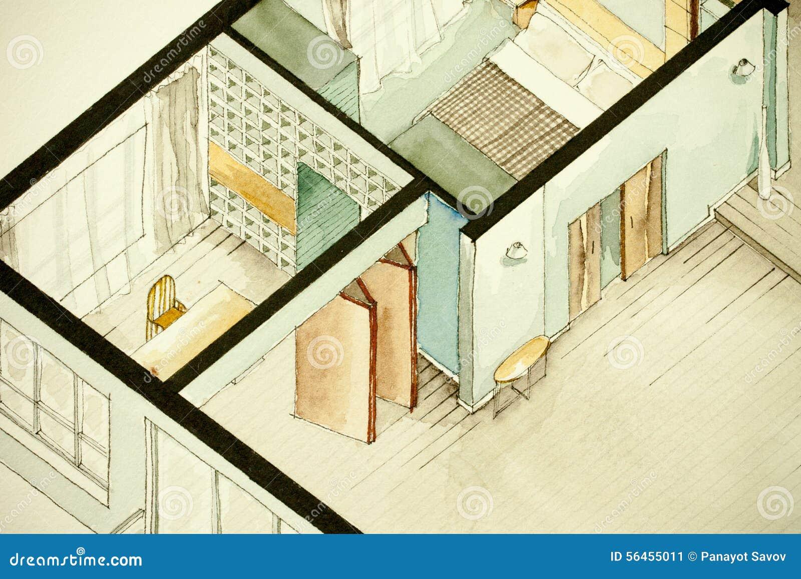 disegno architettonico parziale isometrico dell 39 acquerello
