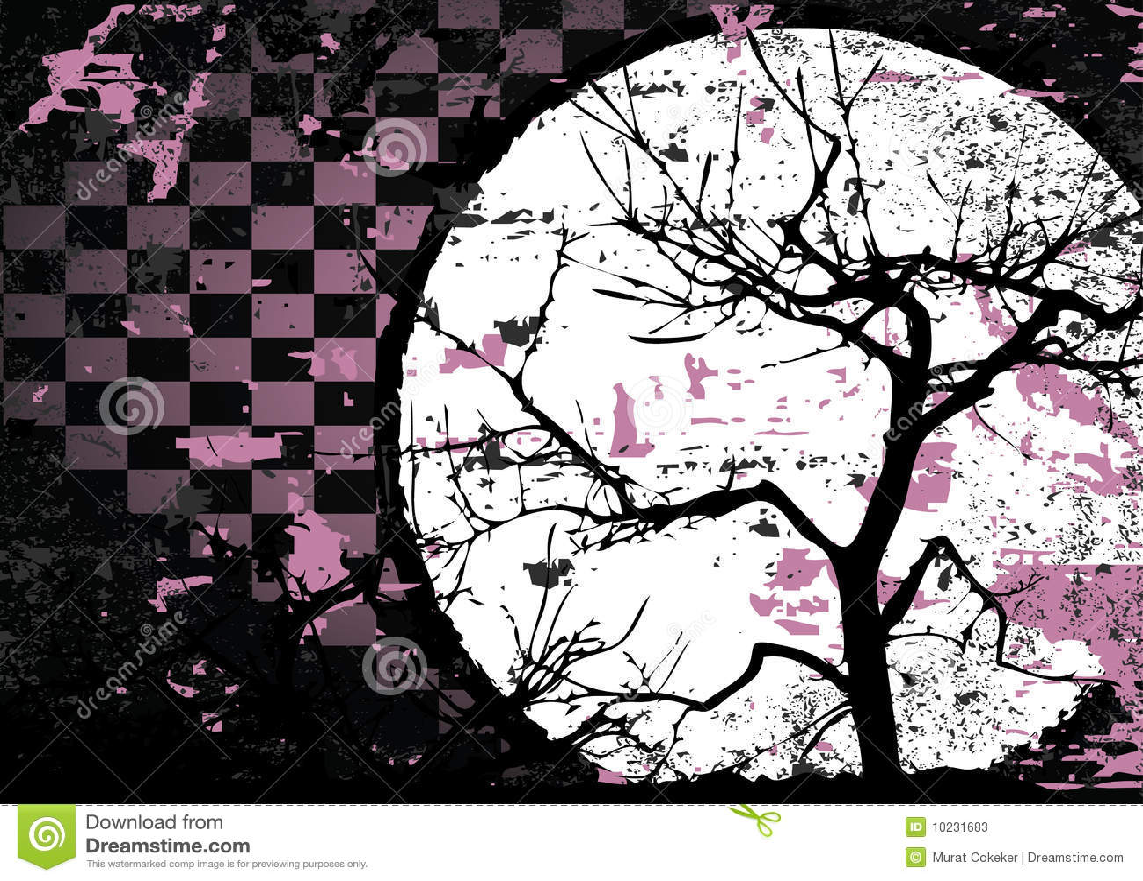 Disegno astratto grungy del quadro televisivo dellalbero di autunno