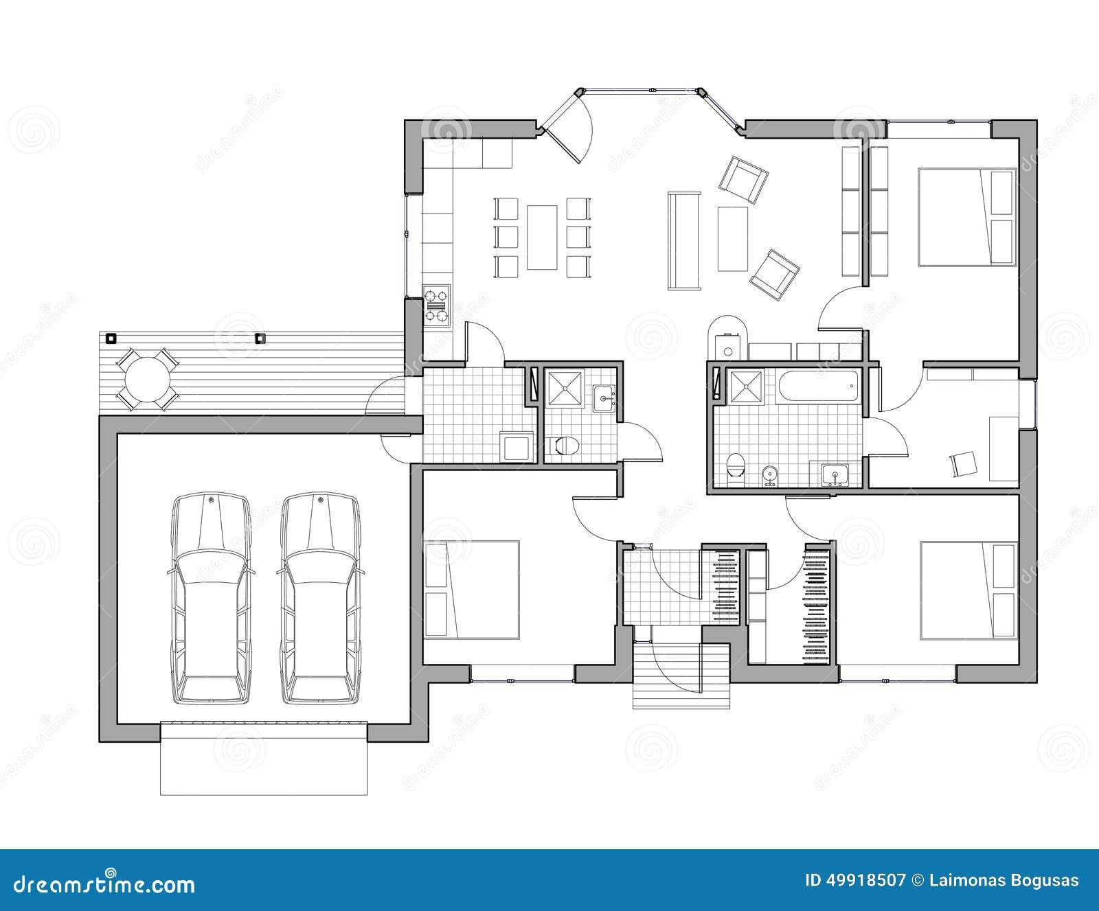 Disegno casa unifamiliare illustrazione di stock for Esempi di disegni di planimetrie della casa