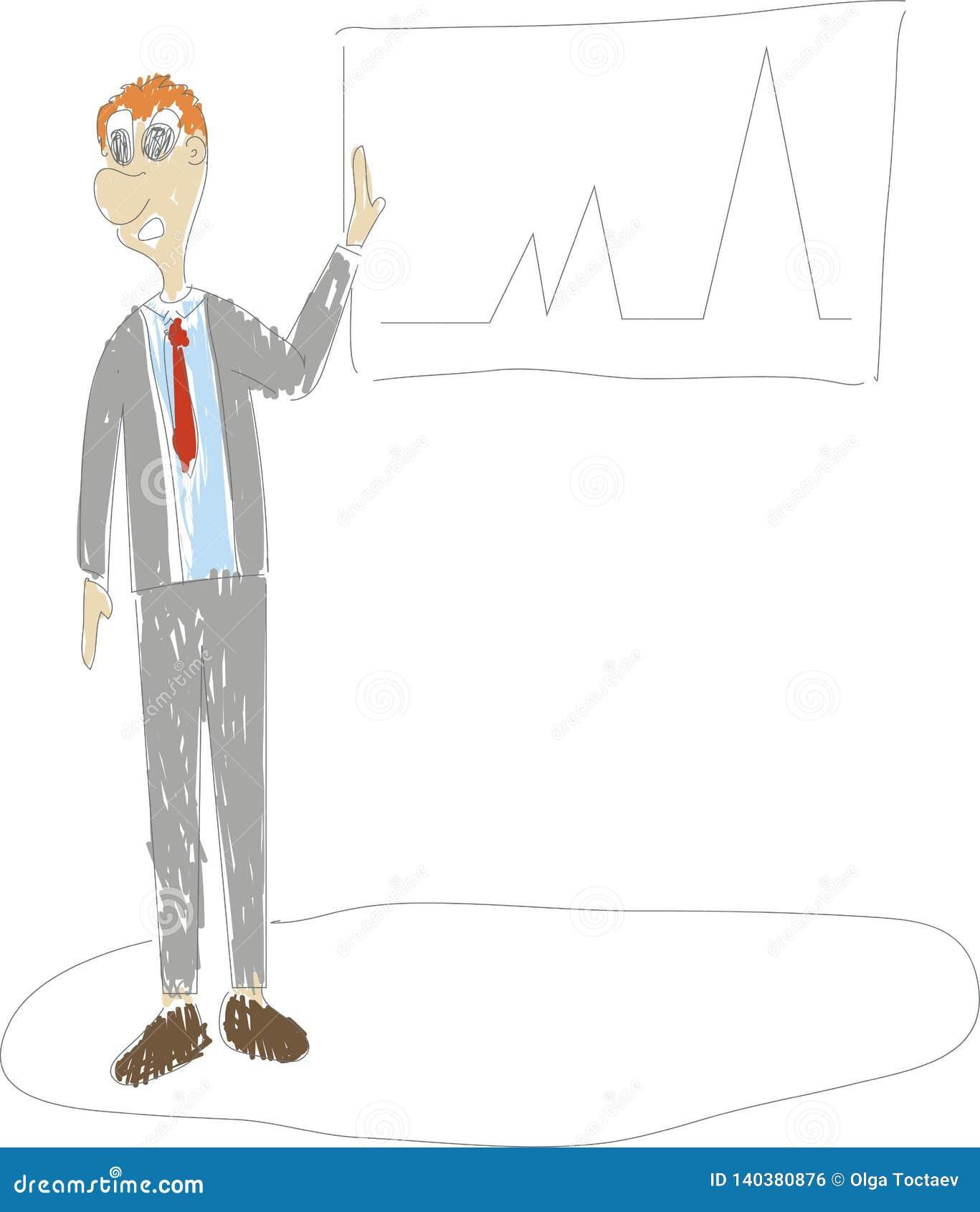 Disegno continuo della mano della situazione aziendale - diagramma in aumento stante del disegno dell uomo d affari
