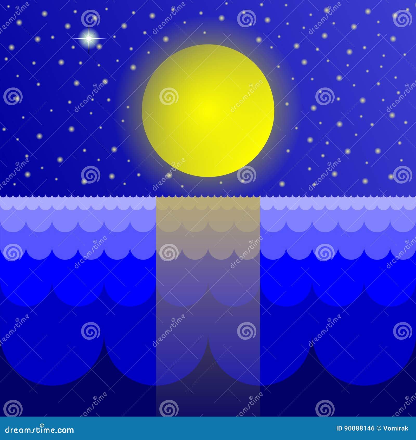 Disegno Decorativo Del Mare E Del Cielo Stellato Illustrazione Di