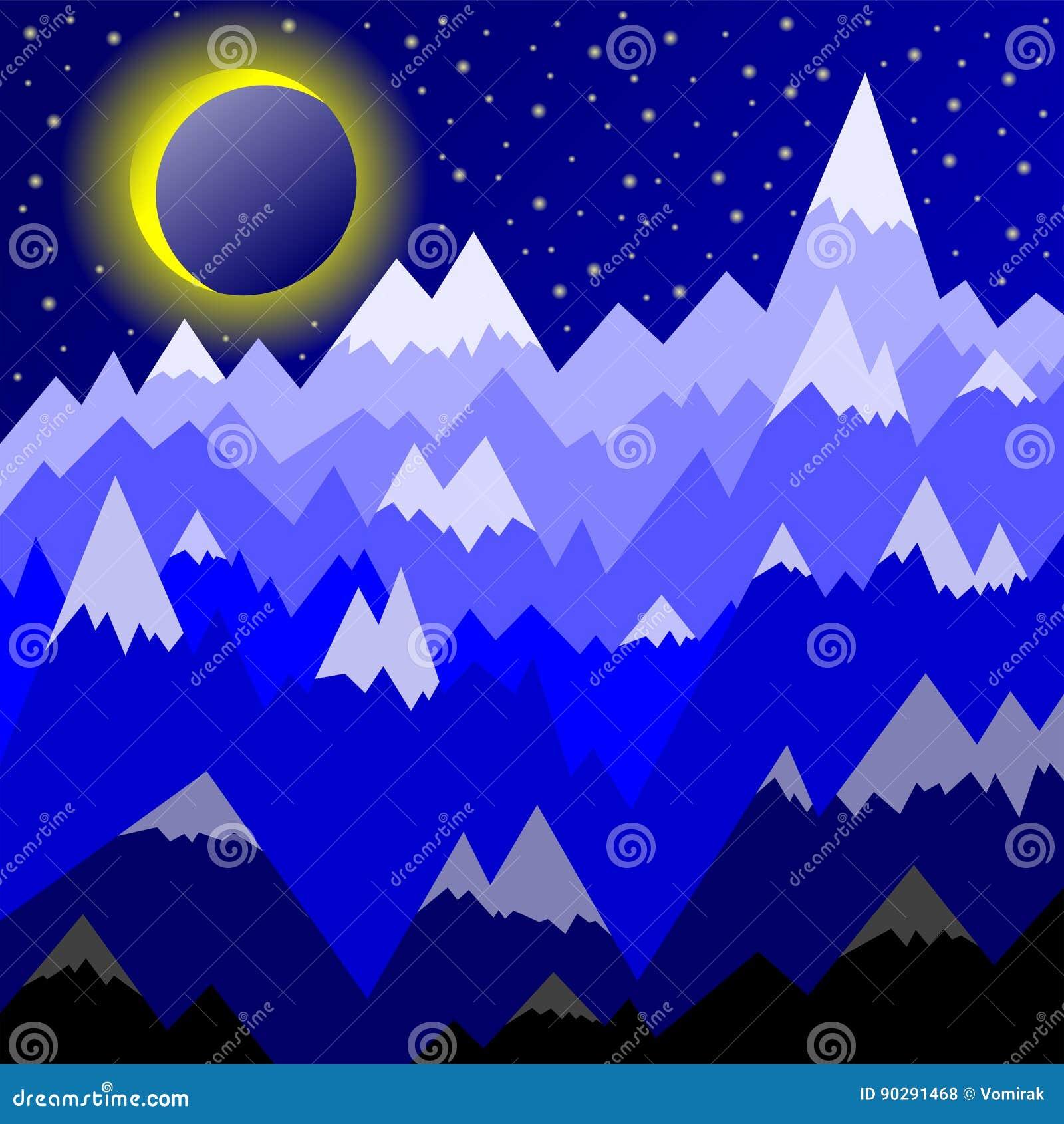 Disegno Decorativo Del Paesaggio Con Le Montagne Con I Picchi Nevosi