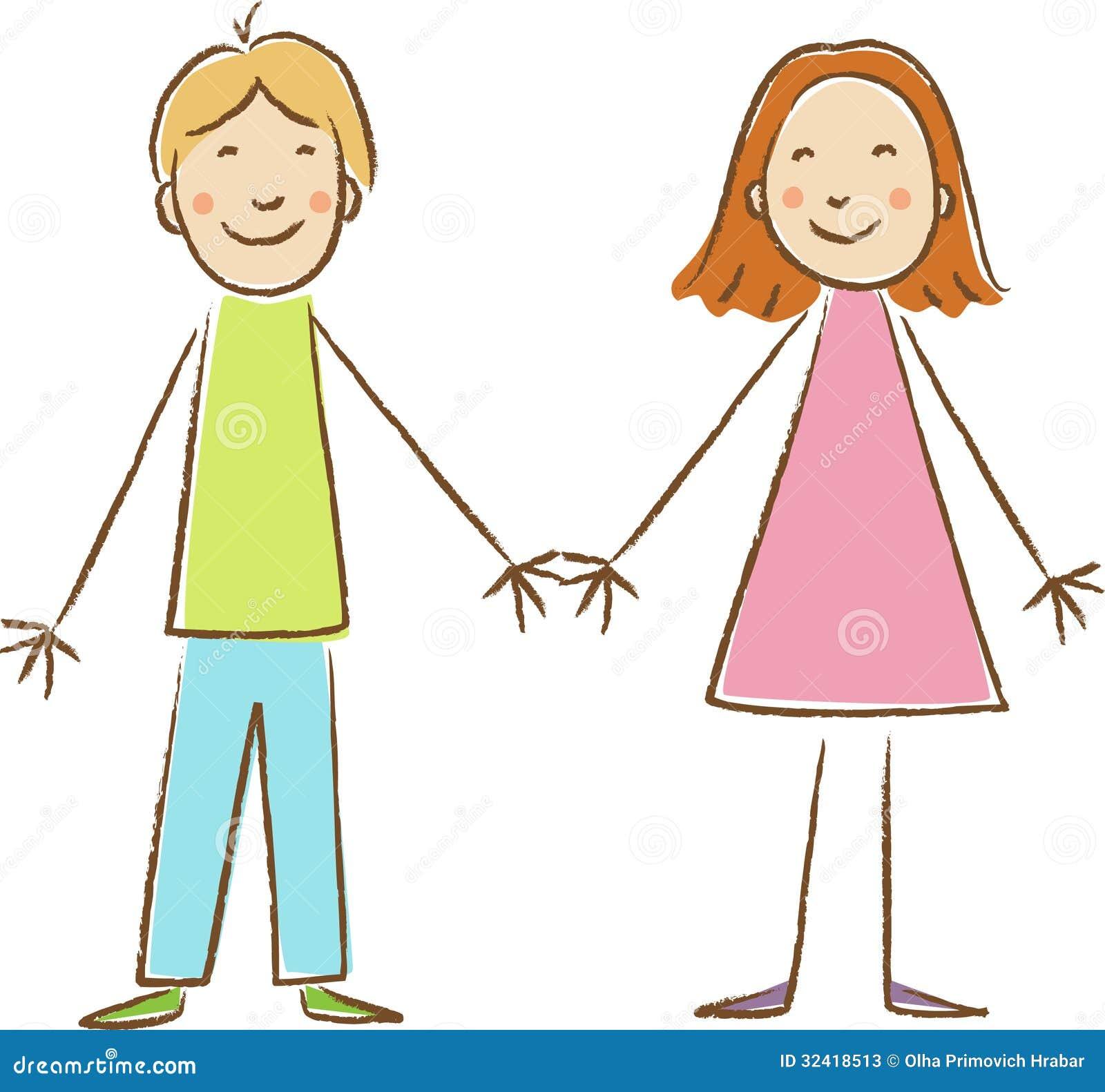 Disegno dei bambini. tenersi per mano della ragazza e del ragazzo