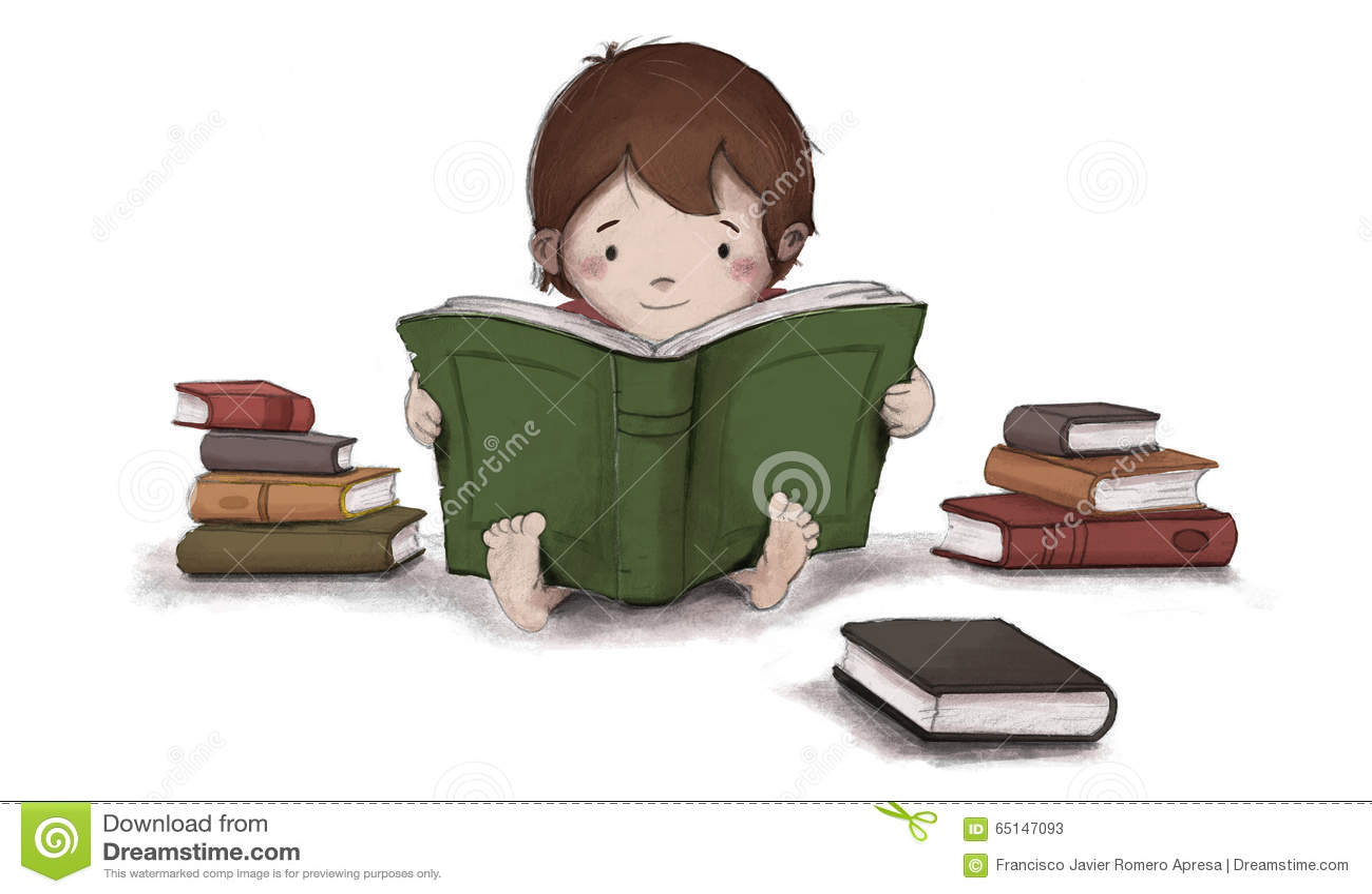 Disegno Di Un Bambino : Disegno del bambino che legge un libro che si siede sul pavimento