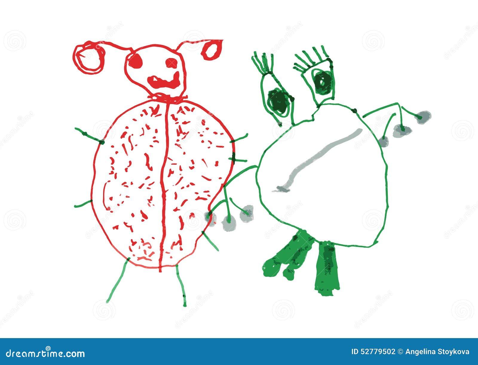Disegno Del Bambino Del Ladybug Della Rana Illustrazione