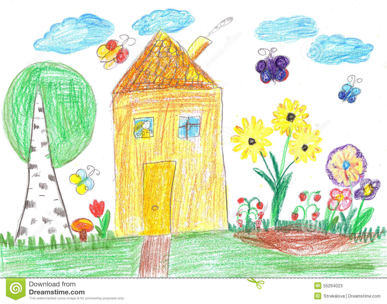 Disegno del bambino di una casa fotografia stock for Disegno di una casa