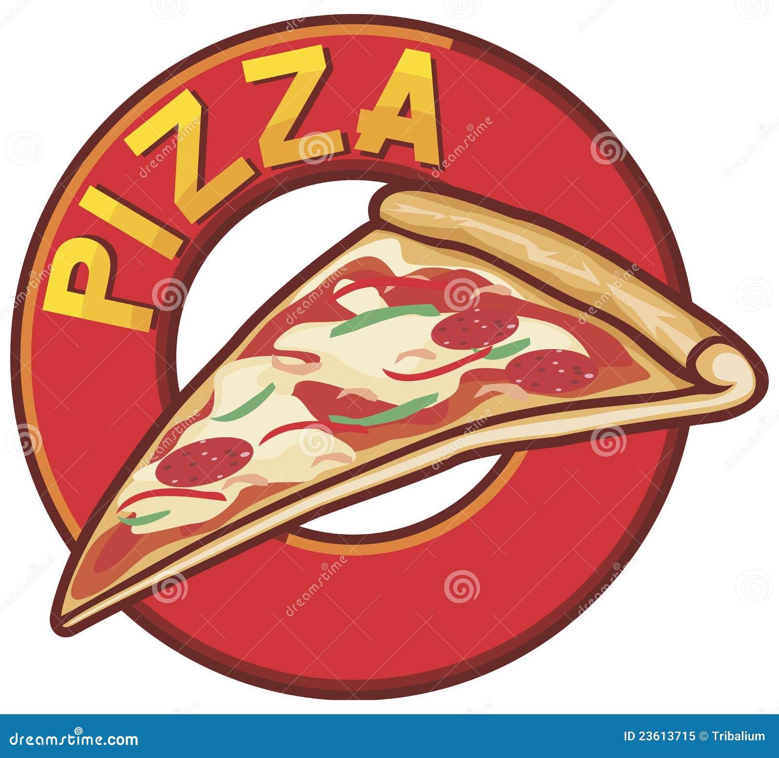 Disegno Del Contrassegno Della Pizza Illustrazione Vettoriale