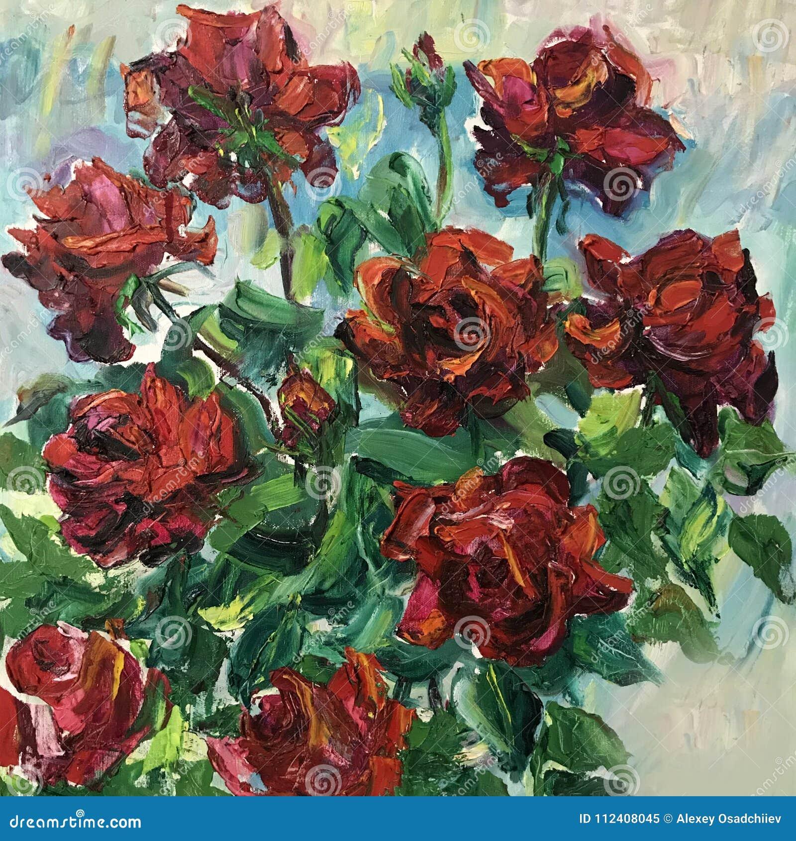 Disegno Del Mazzo Del Fiore Delle Rose Rosse Immagine Stock