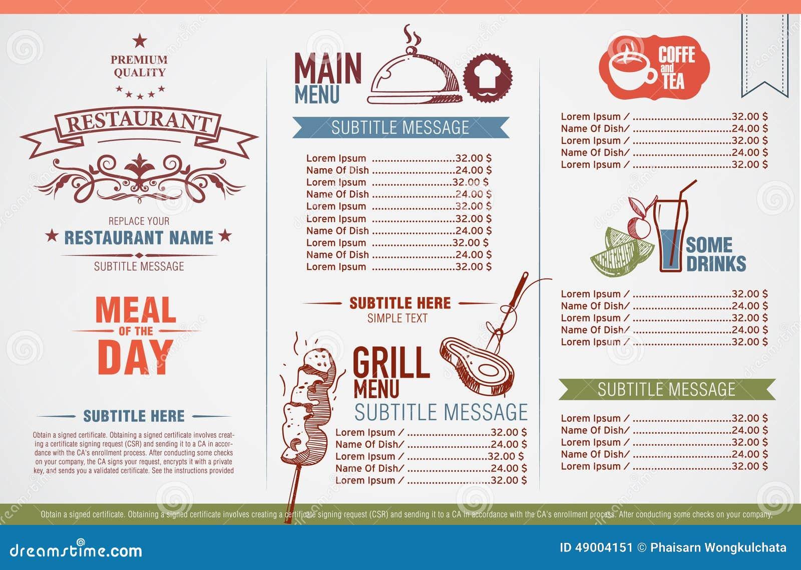 Disegno del menu del ristorante