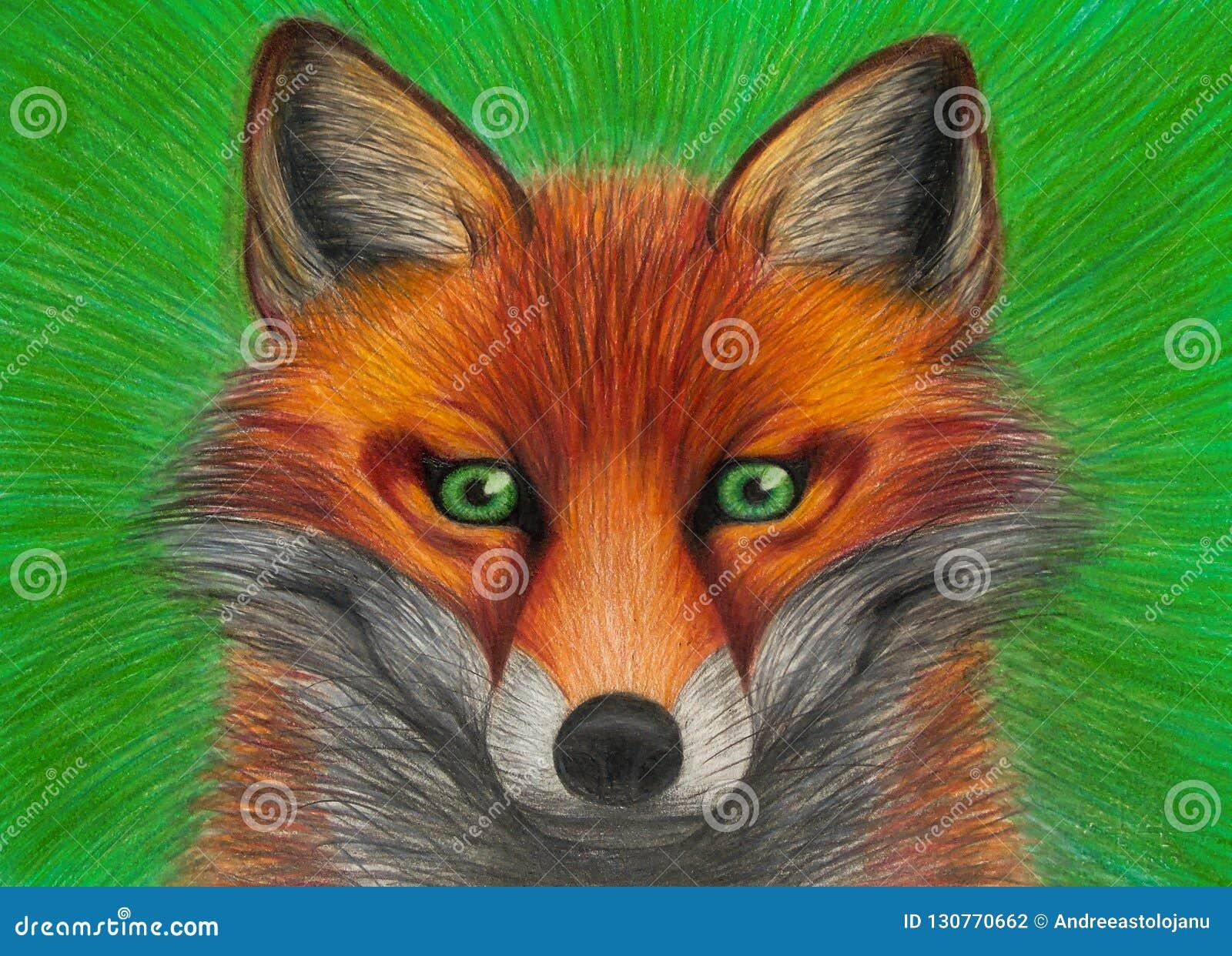 Disegno Del Ritratto Della Volpe Rossa Con Gli Occhi Verdi Su Fondo