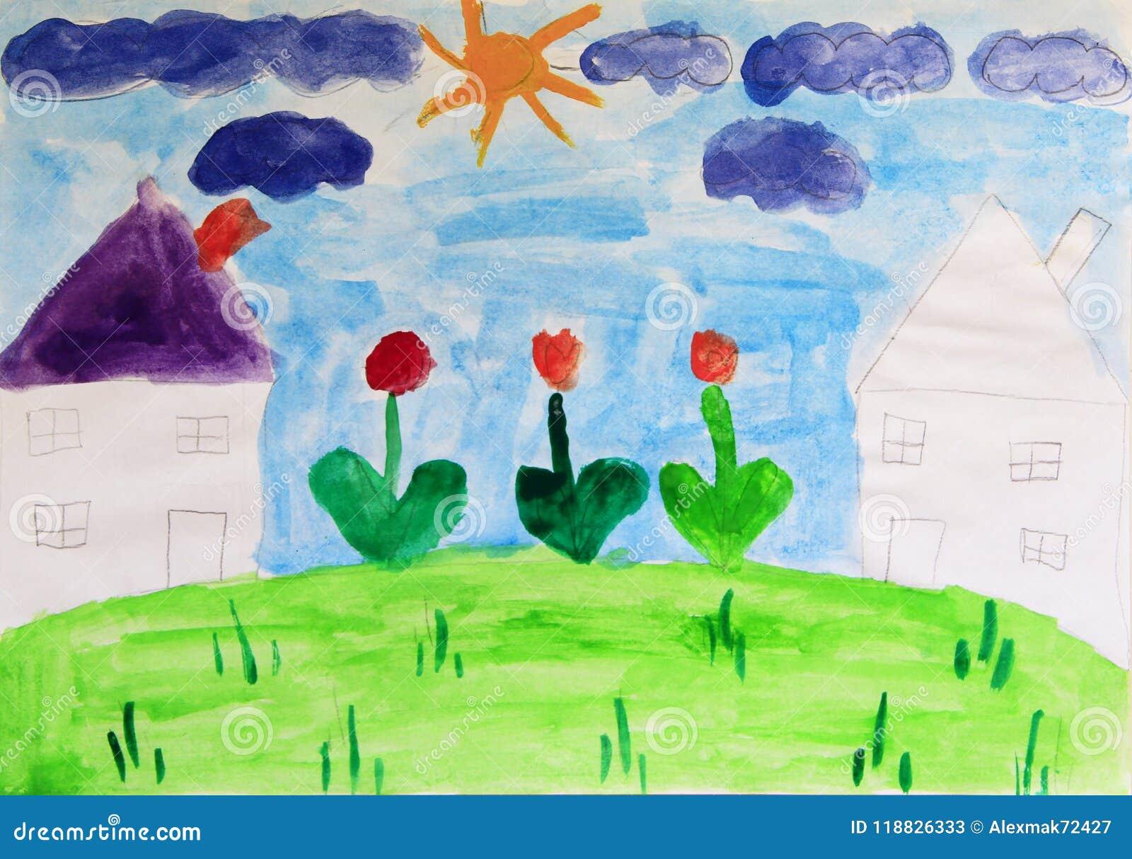 Disegno Di Un Bambino : Disegno del ` s del bambino delle case e dei fiori disegno colorato