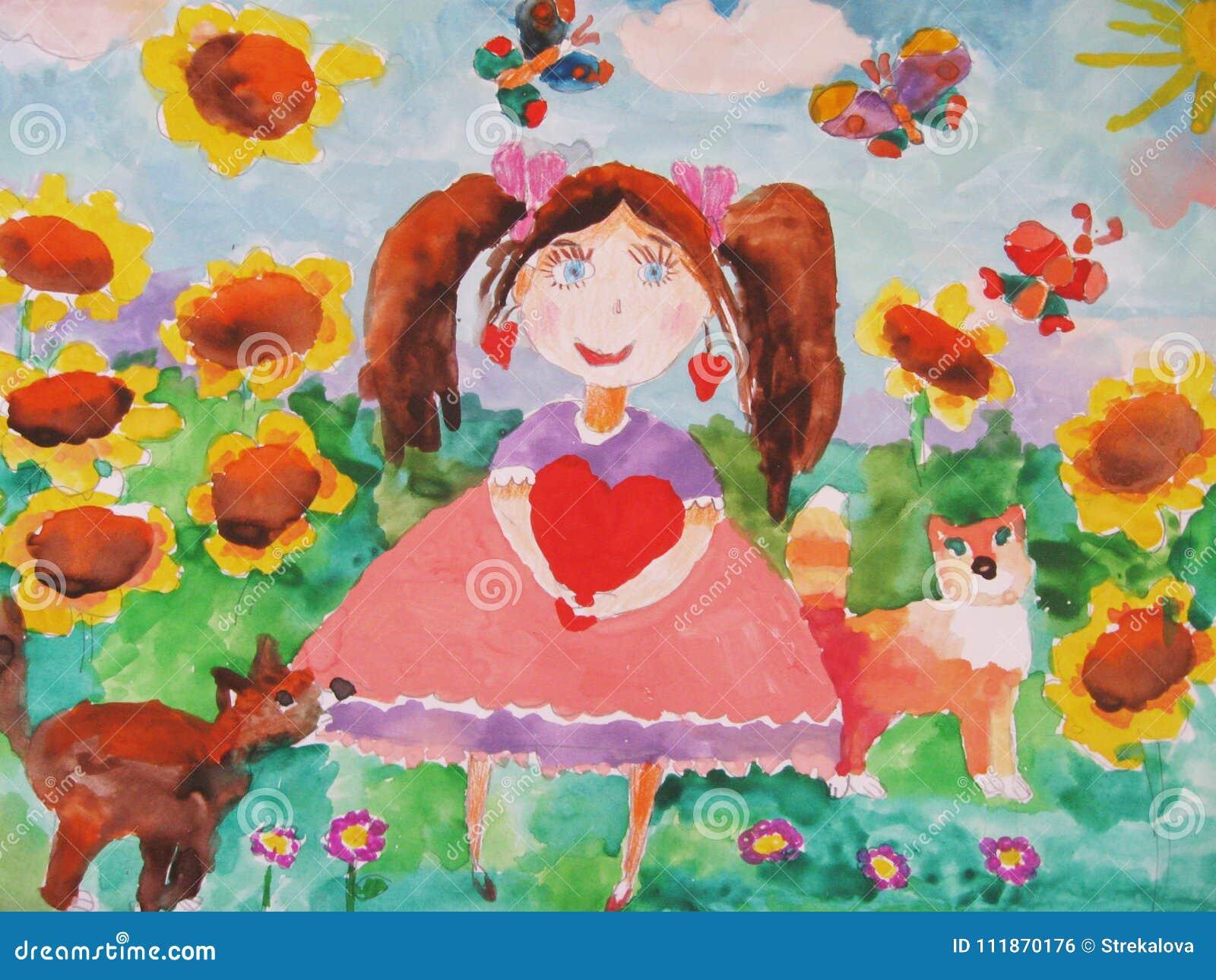 Disegno Di Un Bambino : Disegno del ` s del bambino di una ragazza su un prato con un