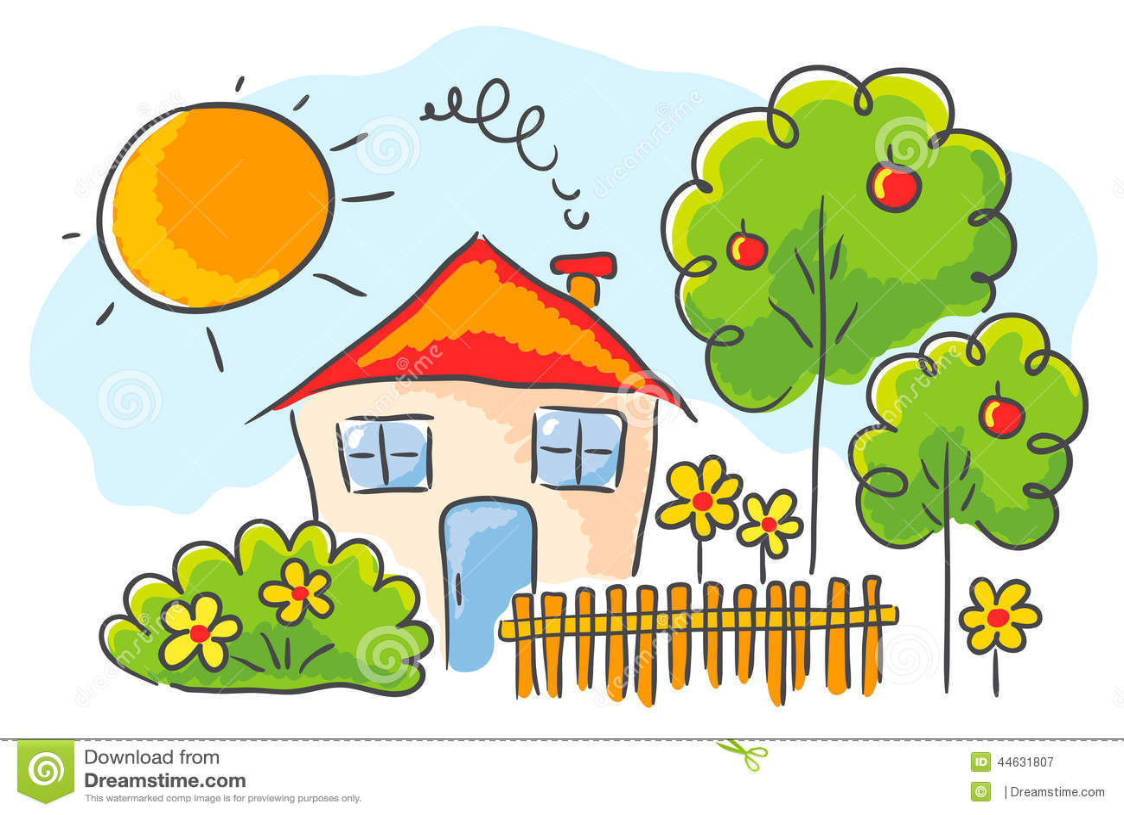 disegno Casa Giardino : Disegno del ` s del bambino di una casa con un giardino.
