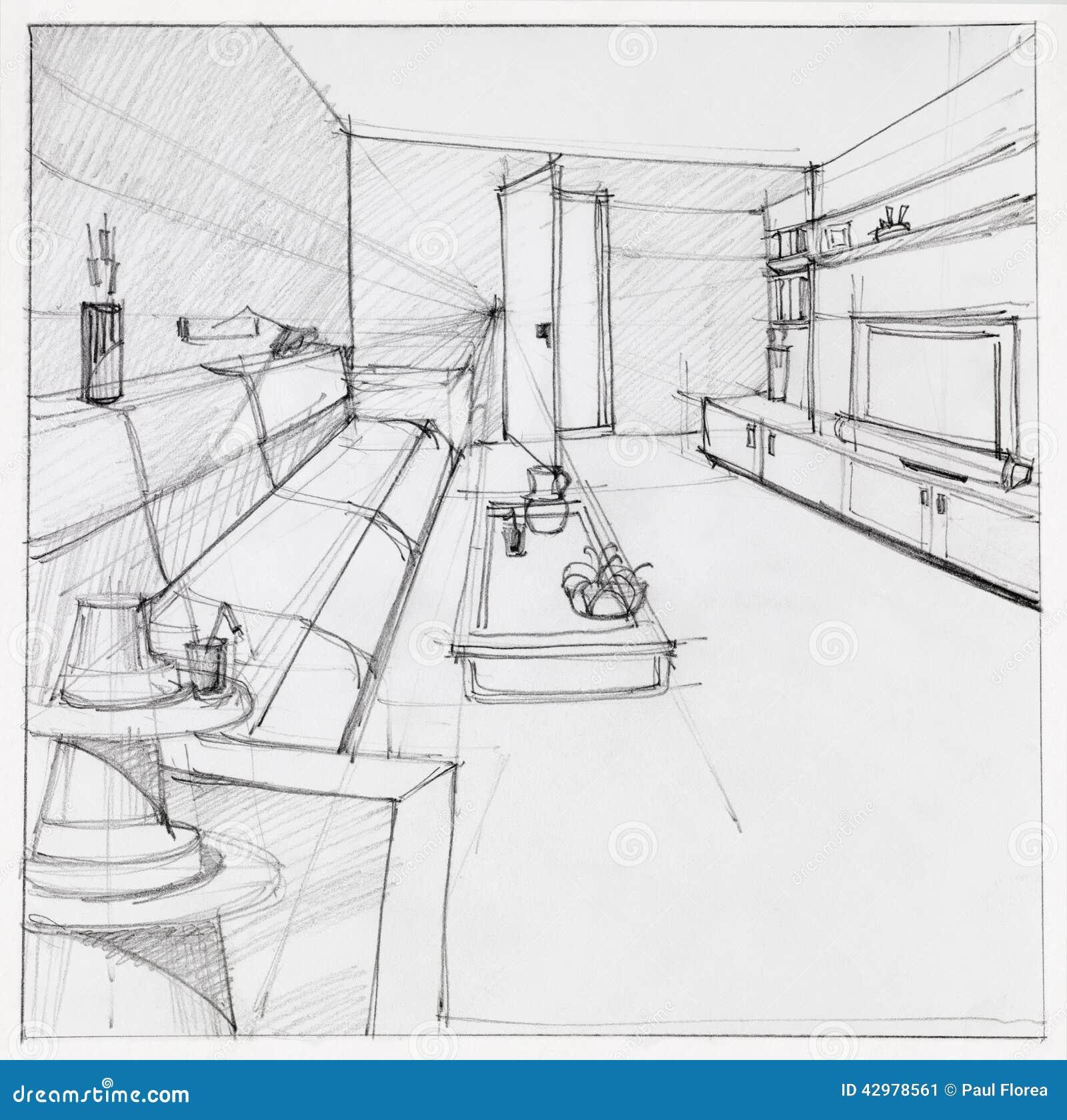 Disegno del salone interno illustrazione di stock for Disegno casa interno