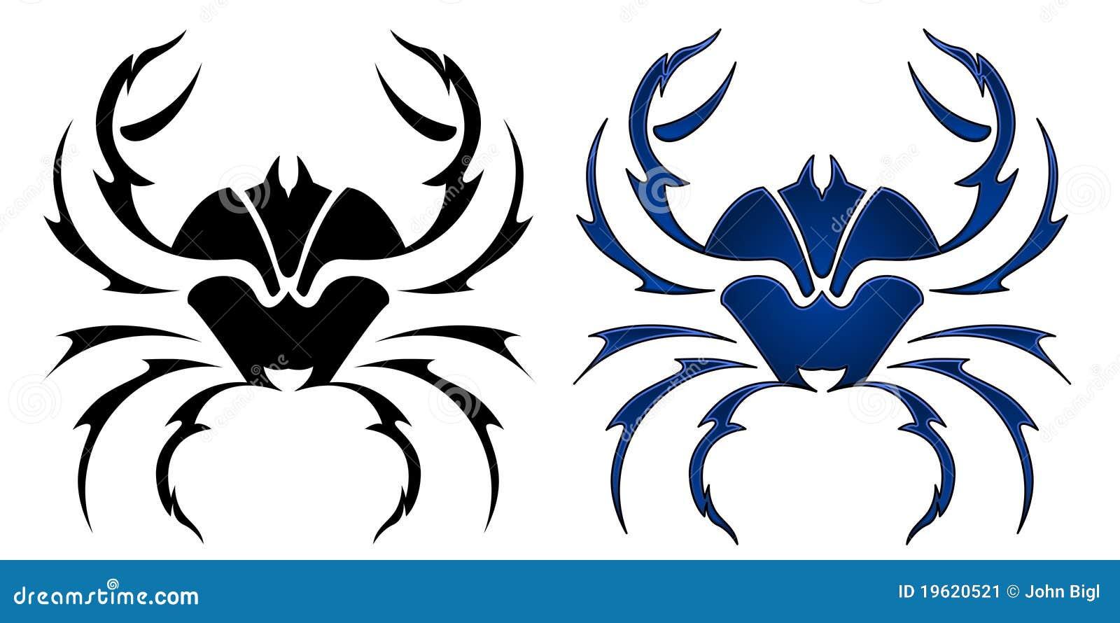 disegno del tatuaggio del granchio illustrazione