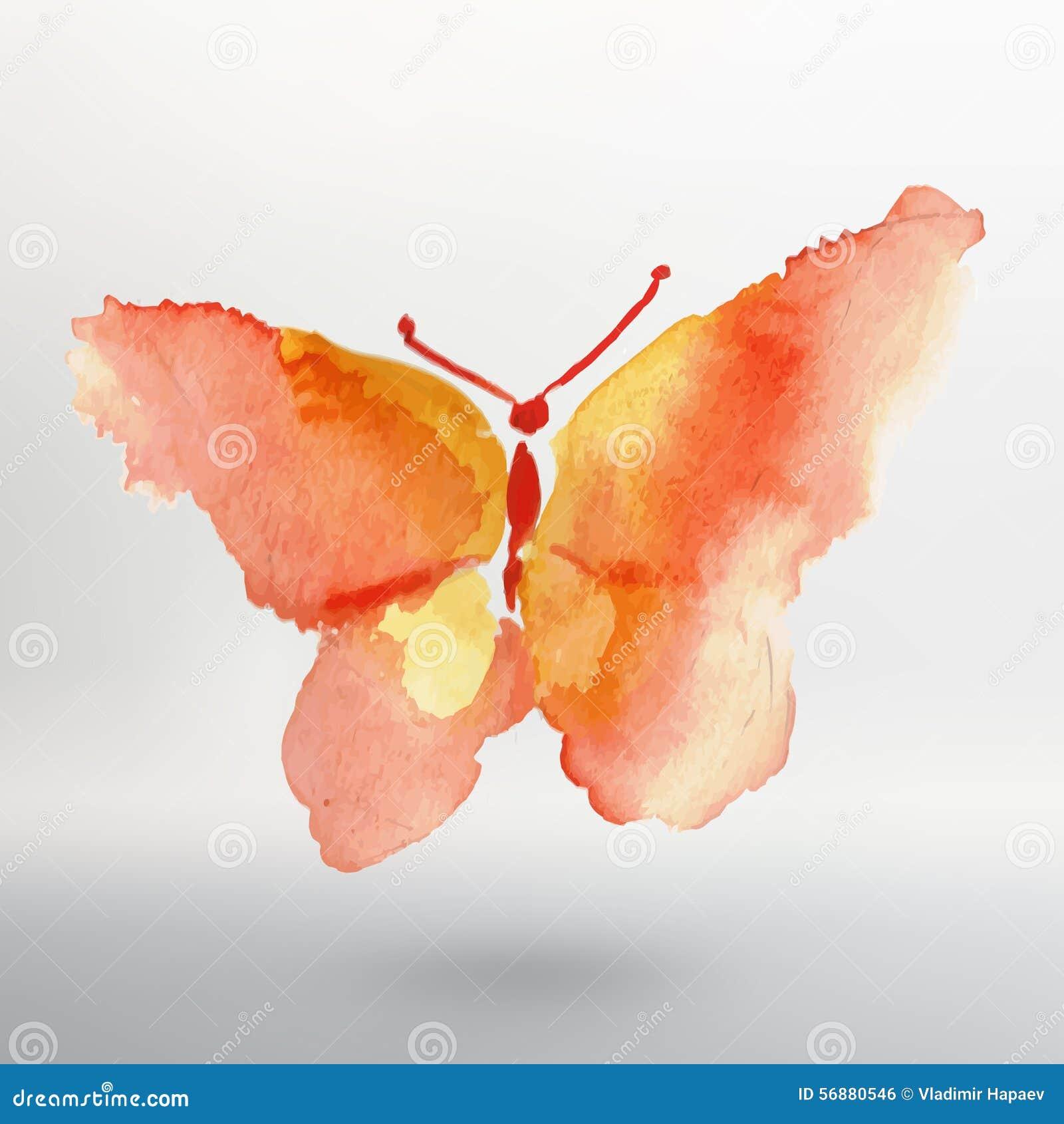 Disegno dell acquerello della farfalla Indicatore luminoso di vettore art