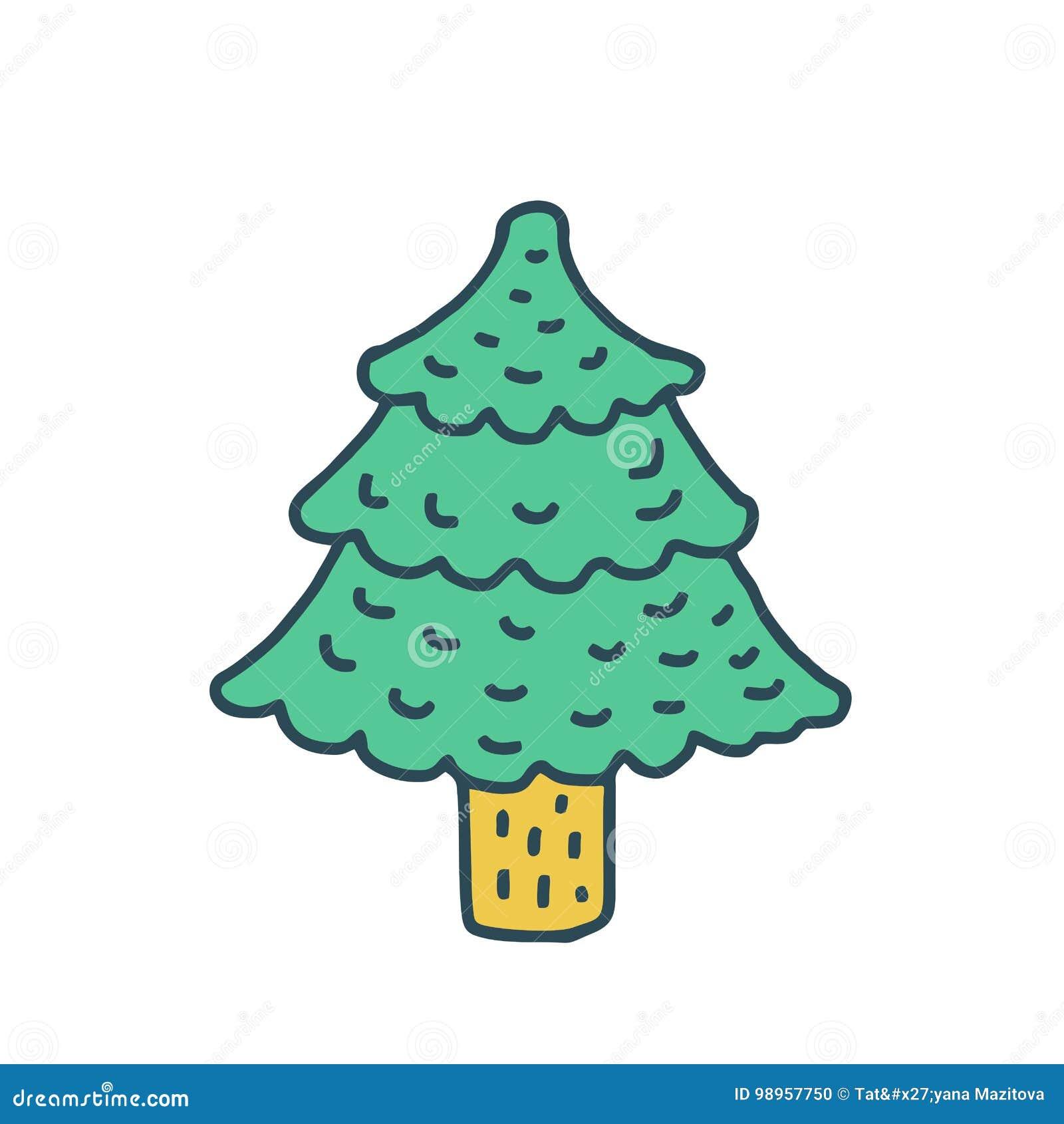 Disegno Dell Albero Di Natale Isolato Stile Del Fumetto Dell Abete