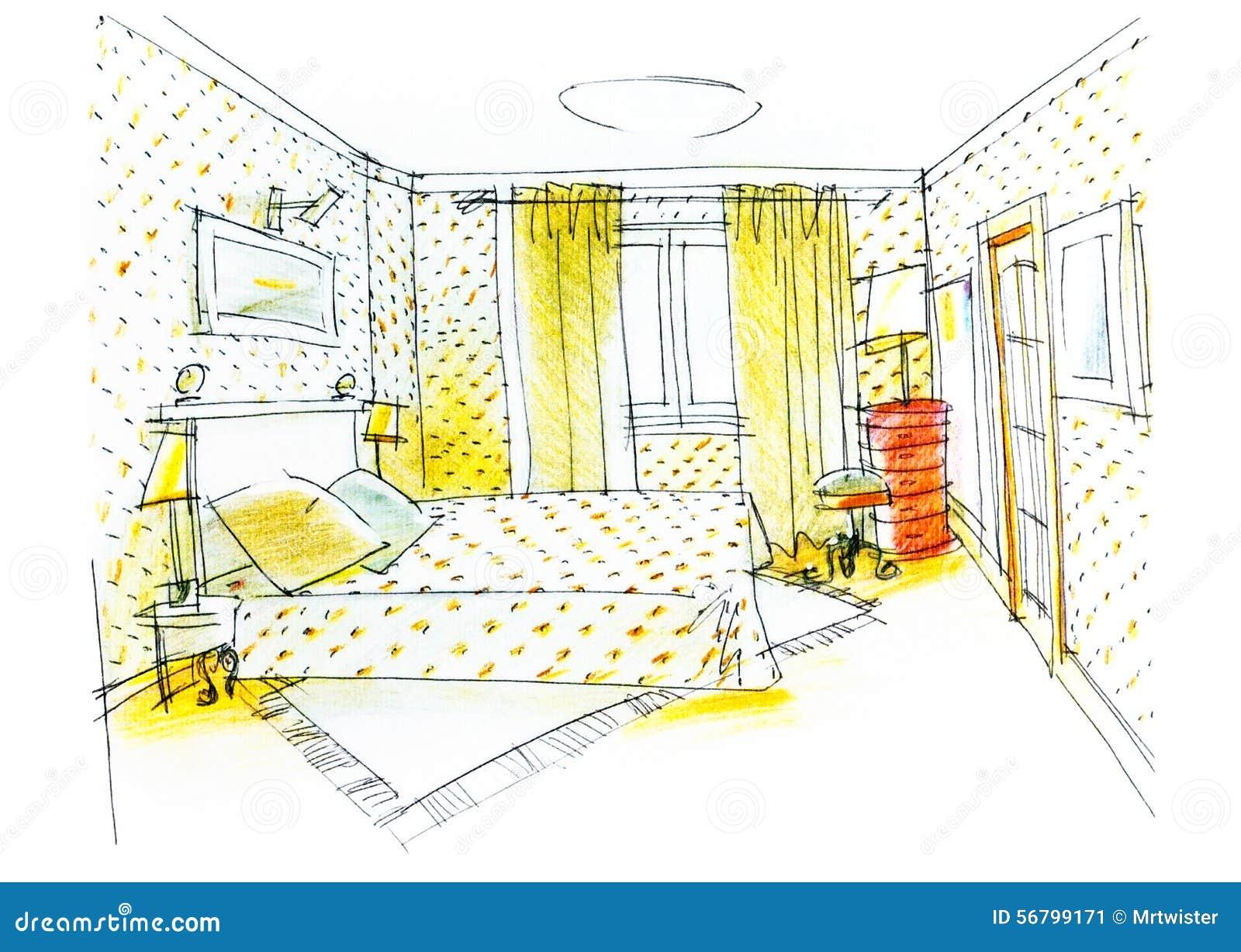 Disegno Della Camera Da Letto Con La Matita Di Colore Illustrazione di Stock - Immagine: 56799171