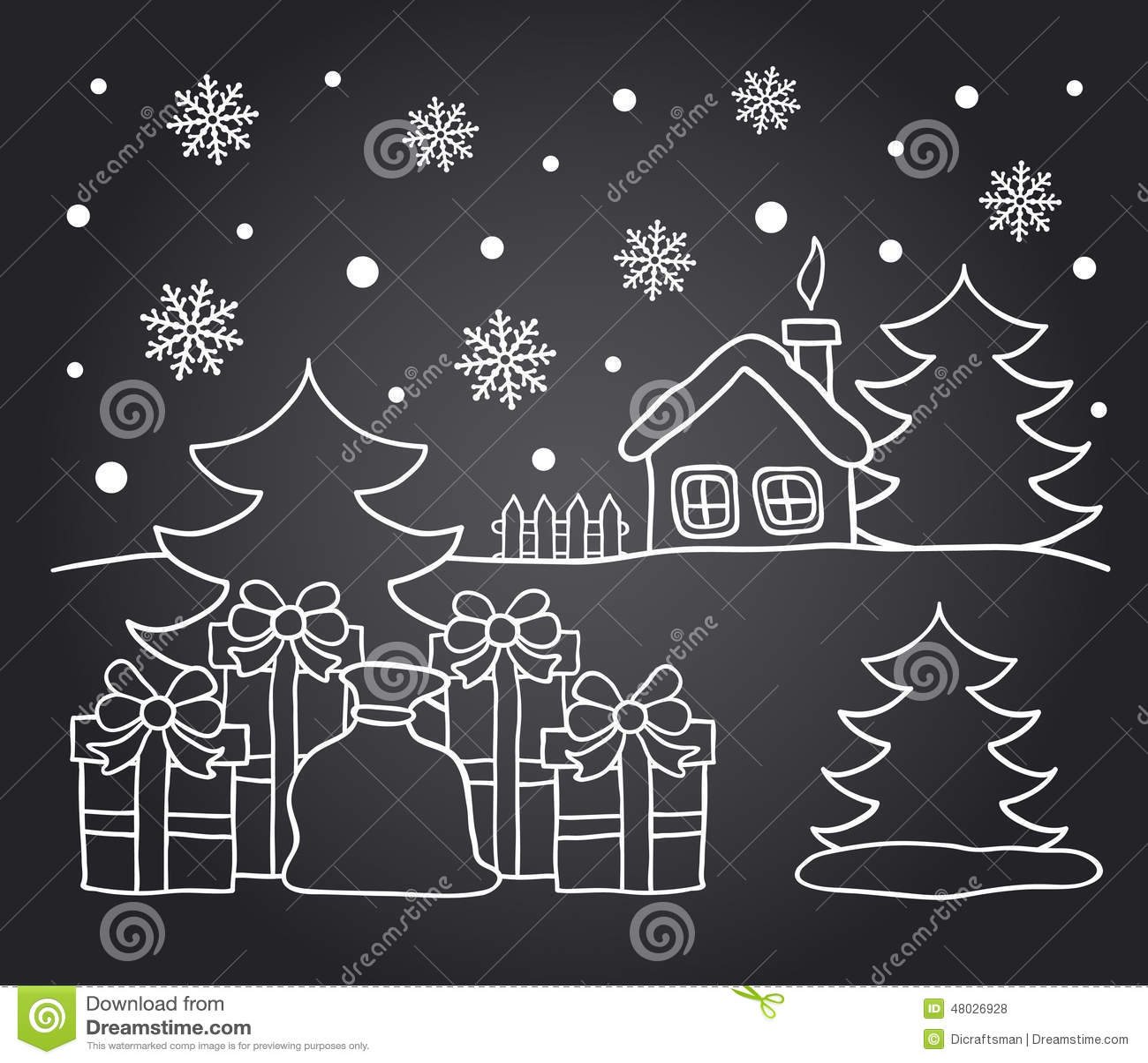 Disegno della lavagna della casa di inverno e dei regali for Disegno della casa di architettura