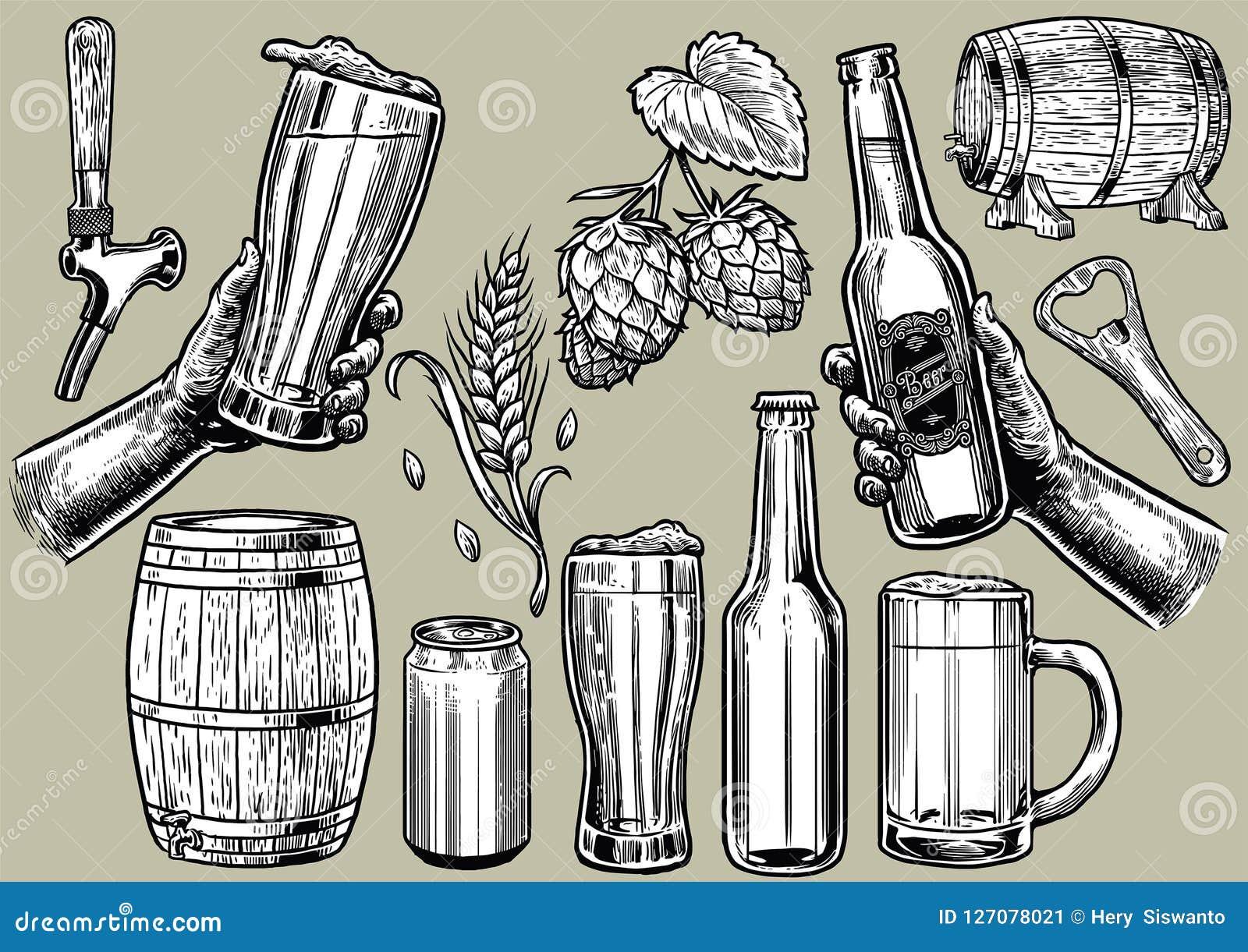 Disegno della mano degli oggetti della birra nell insieme