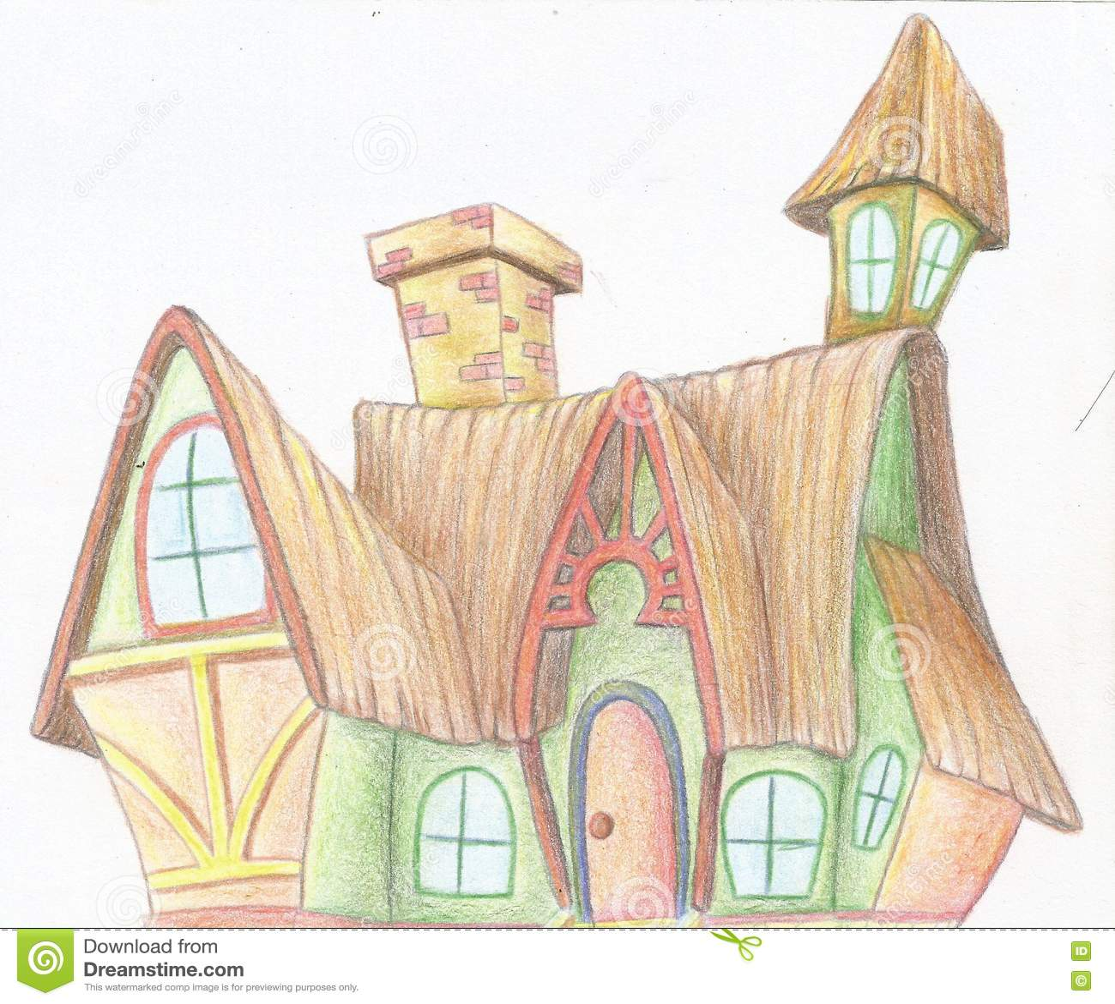 Disegno Della Mano Di Una Casa Della Strega Illustrazione Di Stock