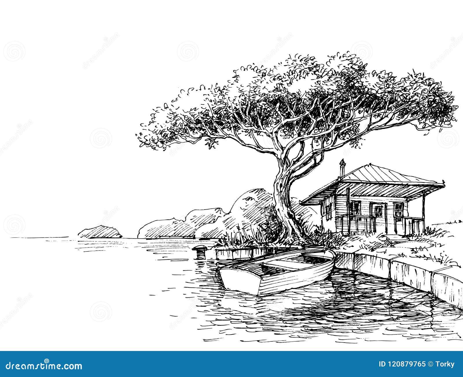 Disegno della sponda del fiume o del lago illustrazione for Lago disegno