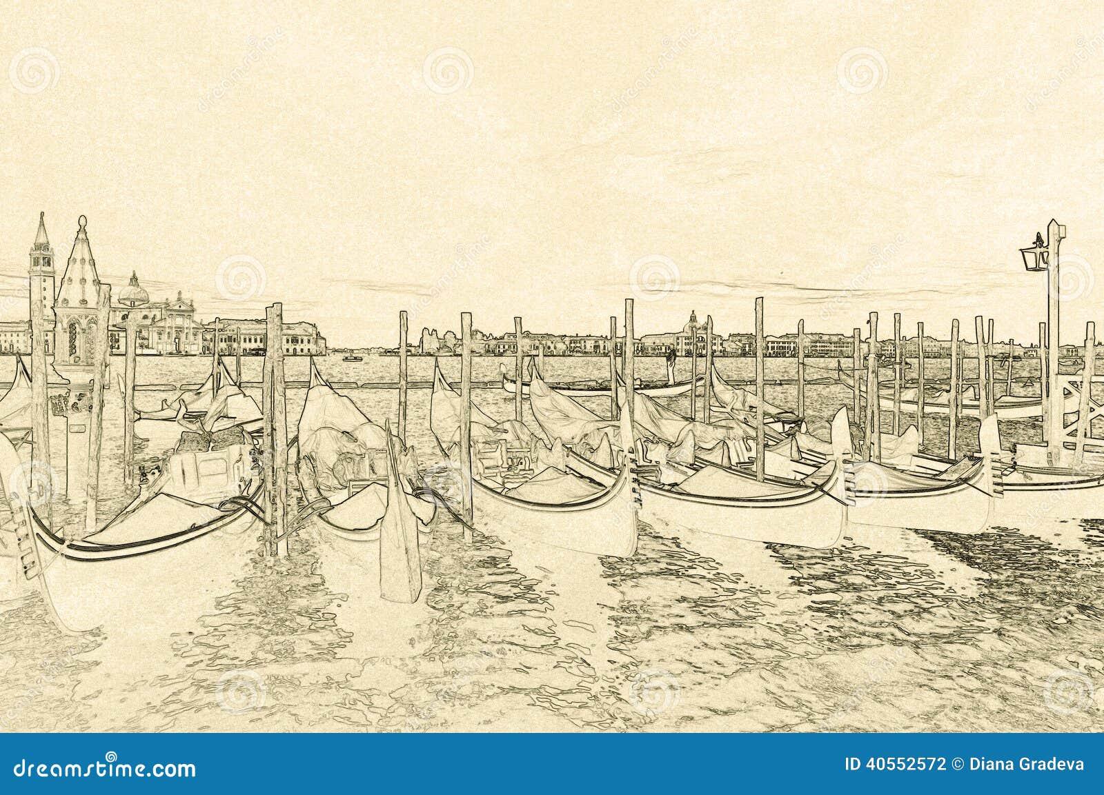 Disegno Delle Gondole A Venezia Fotografia Stock Immagine Di