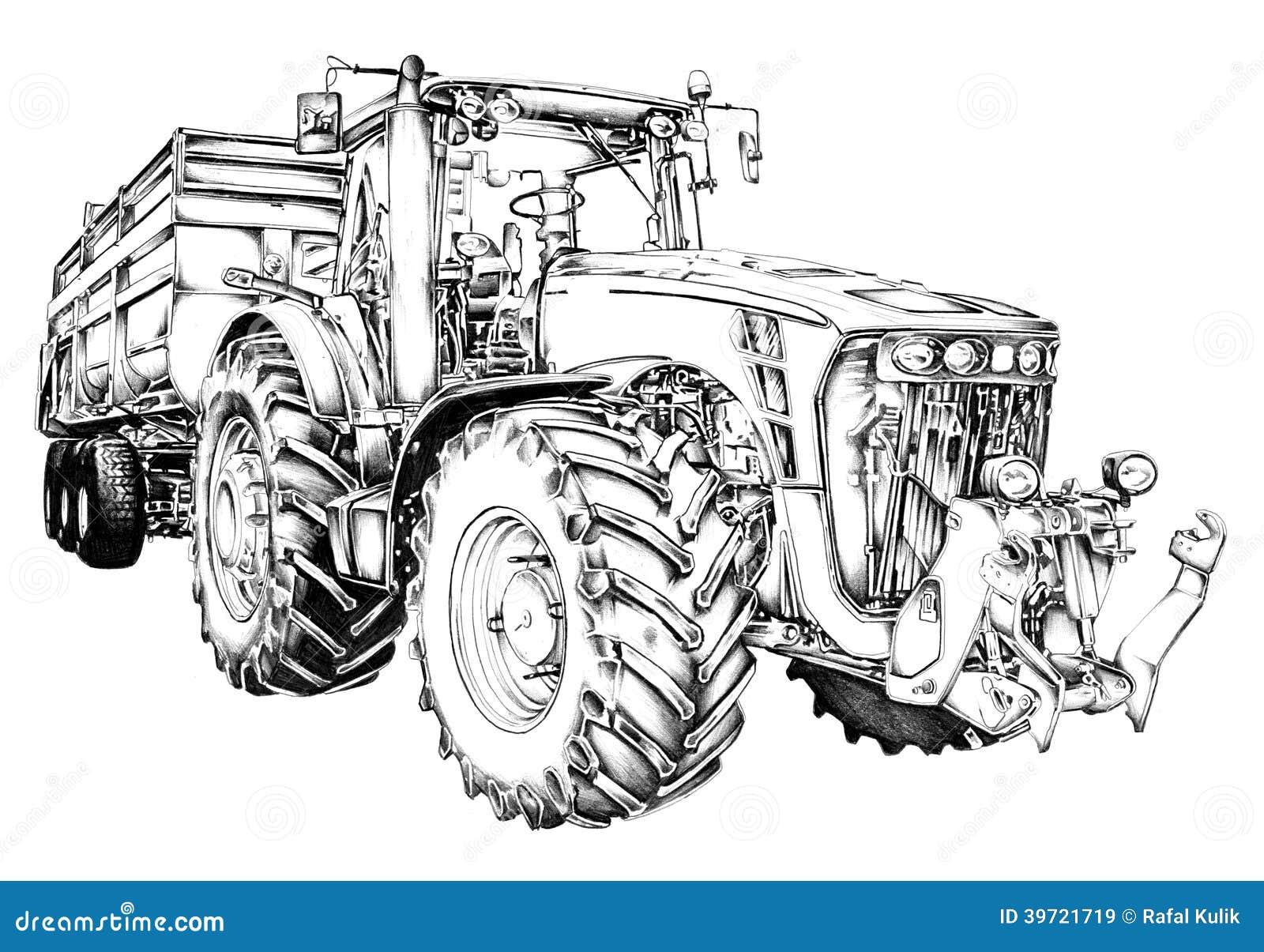 disegno di arte dell u0026 39 illustrazione del trattore agricolo
