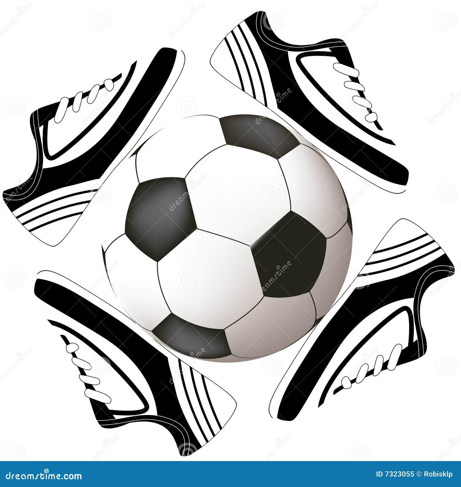 Disegno di calcio con la sfera ed il pattino