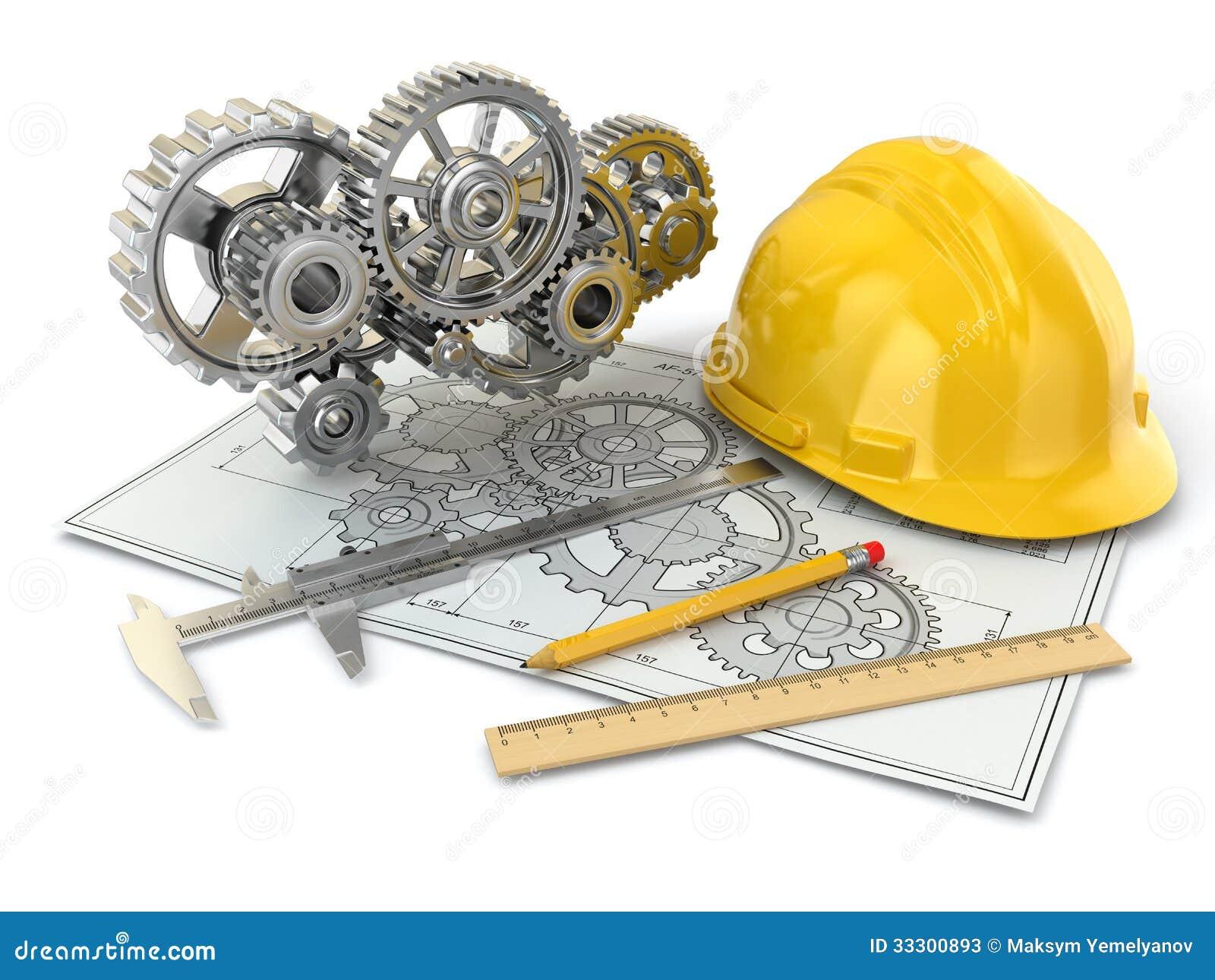 Disegno di ingegneria. Ingranaggio, elmetto protettivo, matita e progetto.