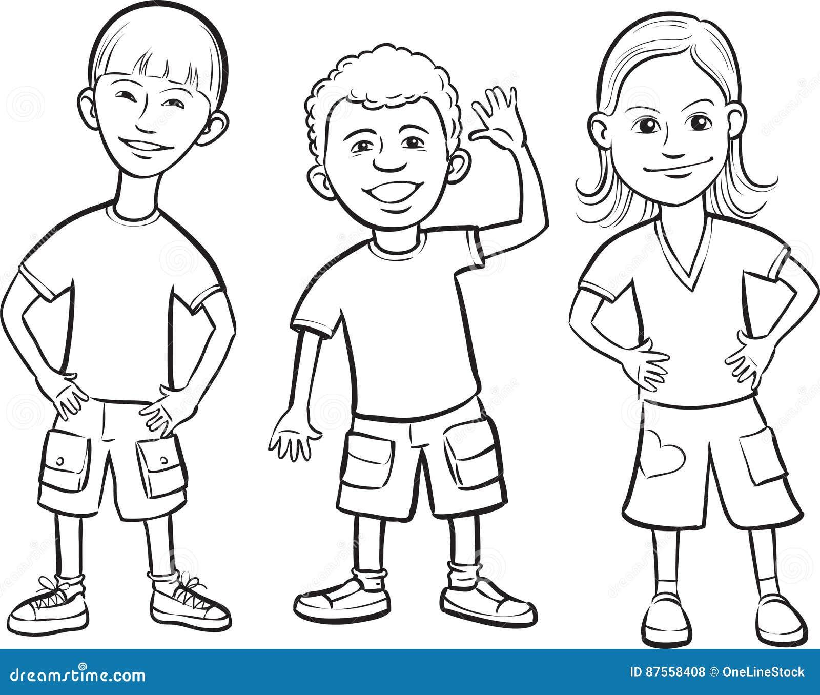 Disegno di lavagna - stare sorridente dei bambini