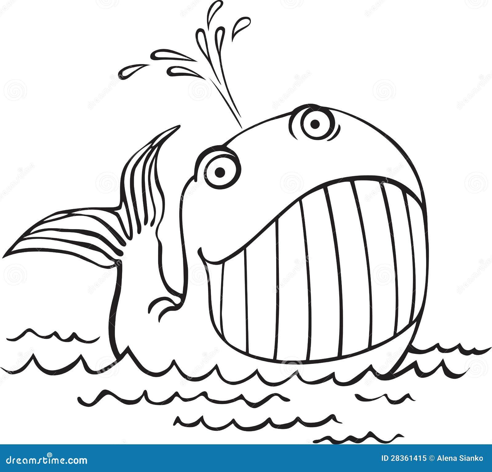 Disegno Di Profilo Di Una Balena Animali Di Mare Del Fumetto